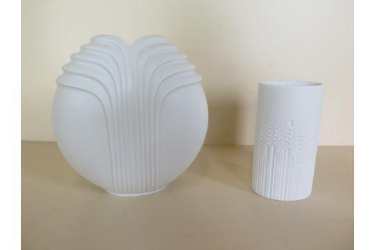 Two Vintage Rosenthal Vases One Studio Line Op Art Globe Lotus
