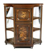 Lot 711 - A late Victorian ebonised and marquetry side cabinet by Howard & Sons, with parquetry stringing,