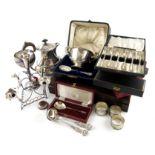 A mixed lot, comprising silver items: a hot water pot, Birmingham 1931, a cased set of twenty-five