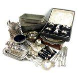 λ A mixed lot of old Sheffield and electroplated items, comprising: an electro-type flagon,
