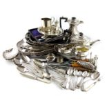 A mixed lot, comprising silver items: five tablespoons, three soup spoons, three dessert spoons,