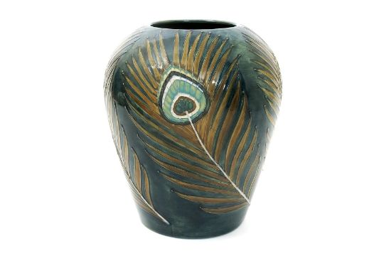 Peacock Feather A Moorcroft Pottery Vase Designed By Sally Tuffin