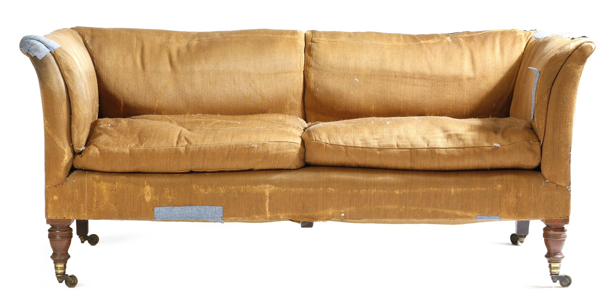 Lot 690 - A late Victorian walnut two seater sofa by Howard & Sons Ltd., with scroll arms and two cushions, on