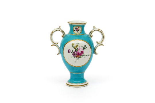 A Chelsea Derby Two Handled Vase C1770 Painted With Circular