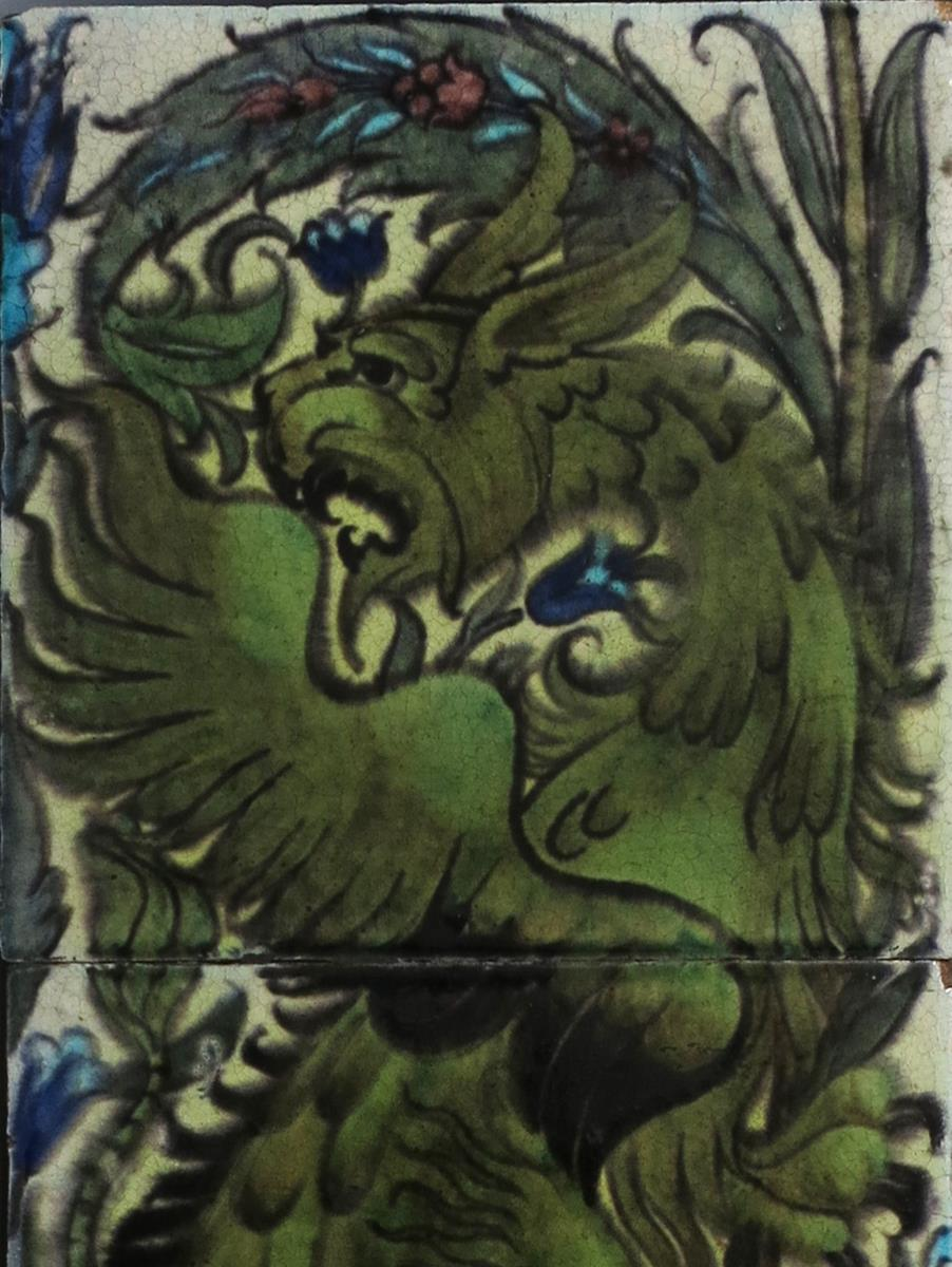 A William De Morgan Persian three tile panel, painted with a dragon climbing a bough, in shades of - Image 2 of 2