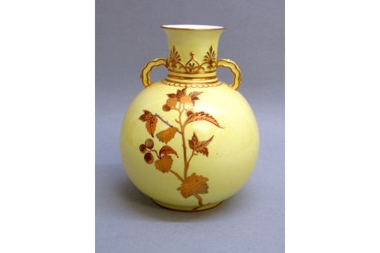 Victorian Derby Bone China Spherical Vase Painted With Aesthetic