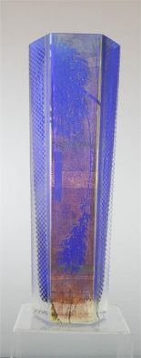 Lot 15 - A Japanese glass vase, blue with iridescent finish.