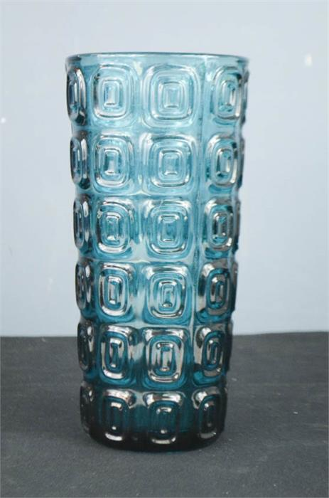 Lot 41 - A Whitefriars style blue vase.