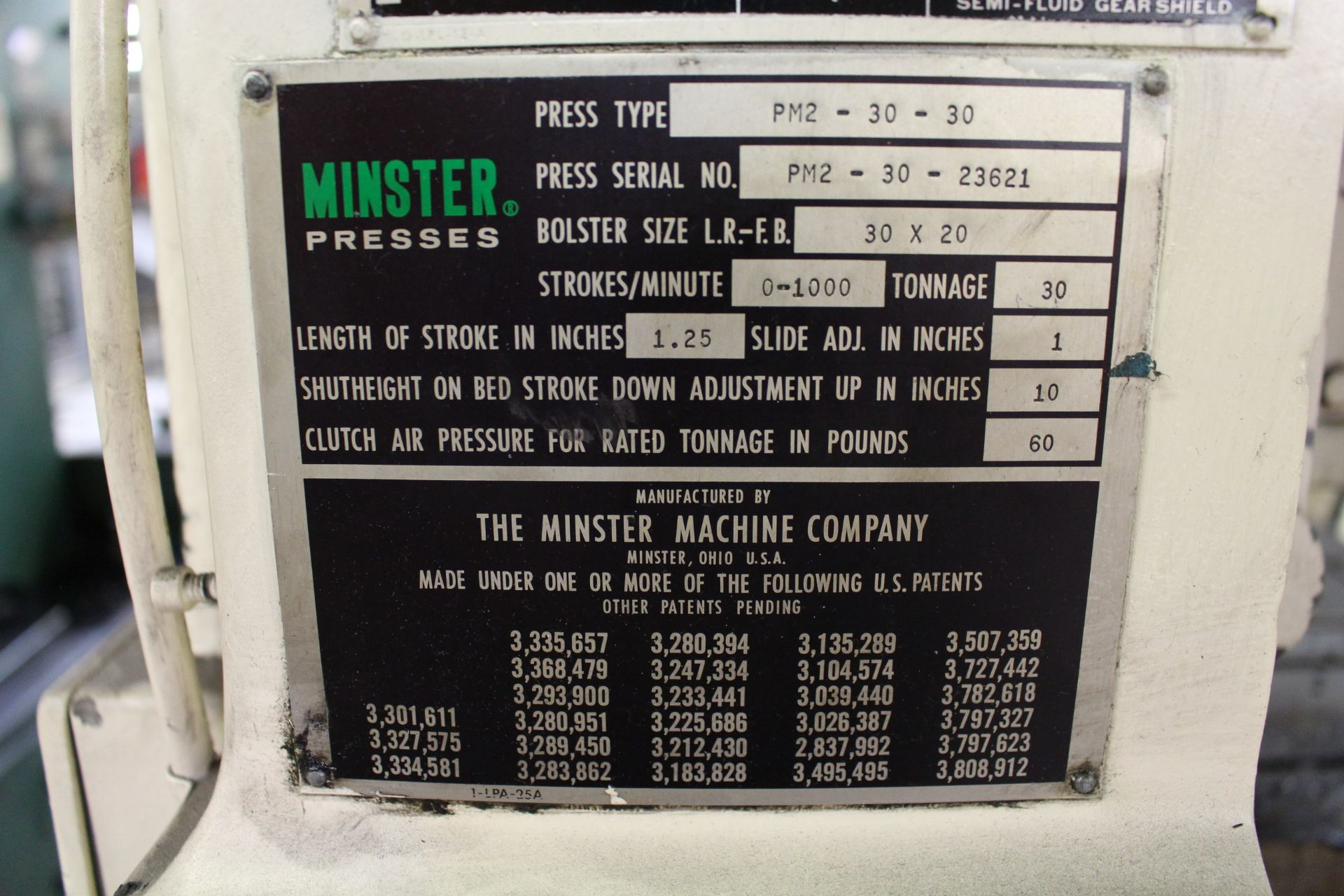 """MINSTER MODEL PM2-30-30 HIGH SPEED PUNCH PRESS, 30 TON CAPACITY, 30"""" X 20"""" BOLSTER, 0-1,000 SPM, 1- - Image 18 of 18"""