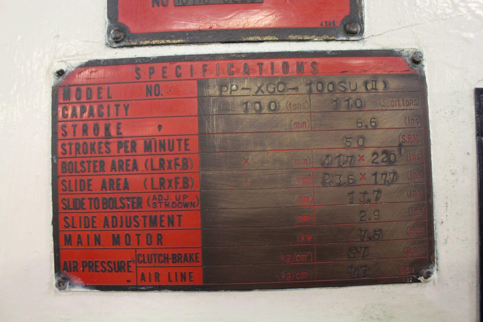 "AIDA MODEL PP-XG0-100SU (II) PUNCH PRESS, 100-TON CAPACITY, 6.6"" STROKE, 50 SPM, 41.7"" X 22"" - Image 9 of 9"