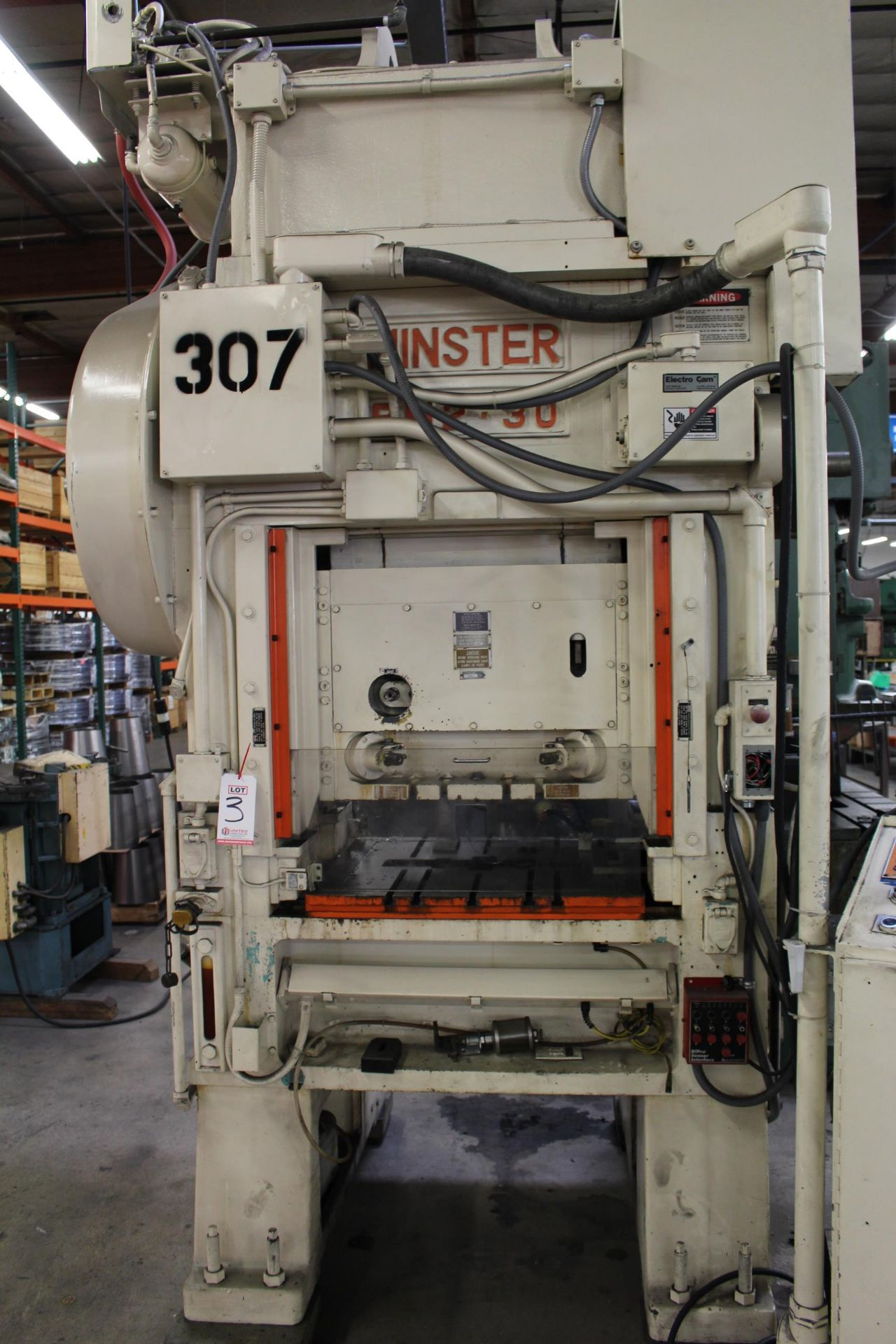"""MINSTER MODEL PM2-30-30 HIGH SPEED PUNCH PRESS, 30 TON CAPACITY, 30"""" X 20"""" BOLSTER, 0-1,000 SPM, 1- - Image 3 of 18"""