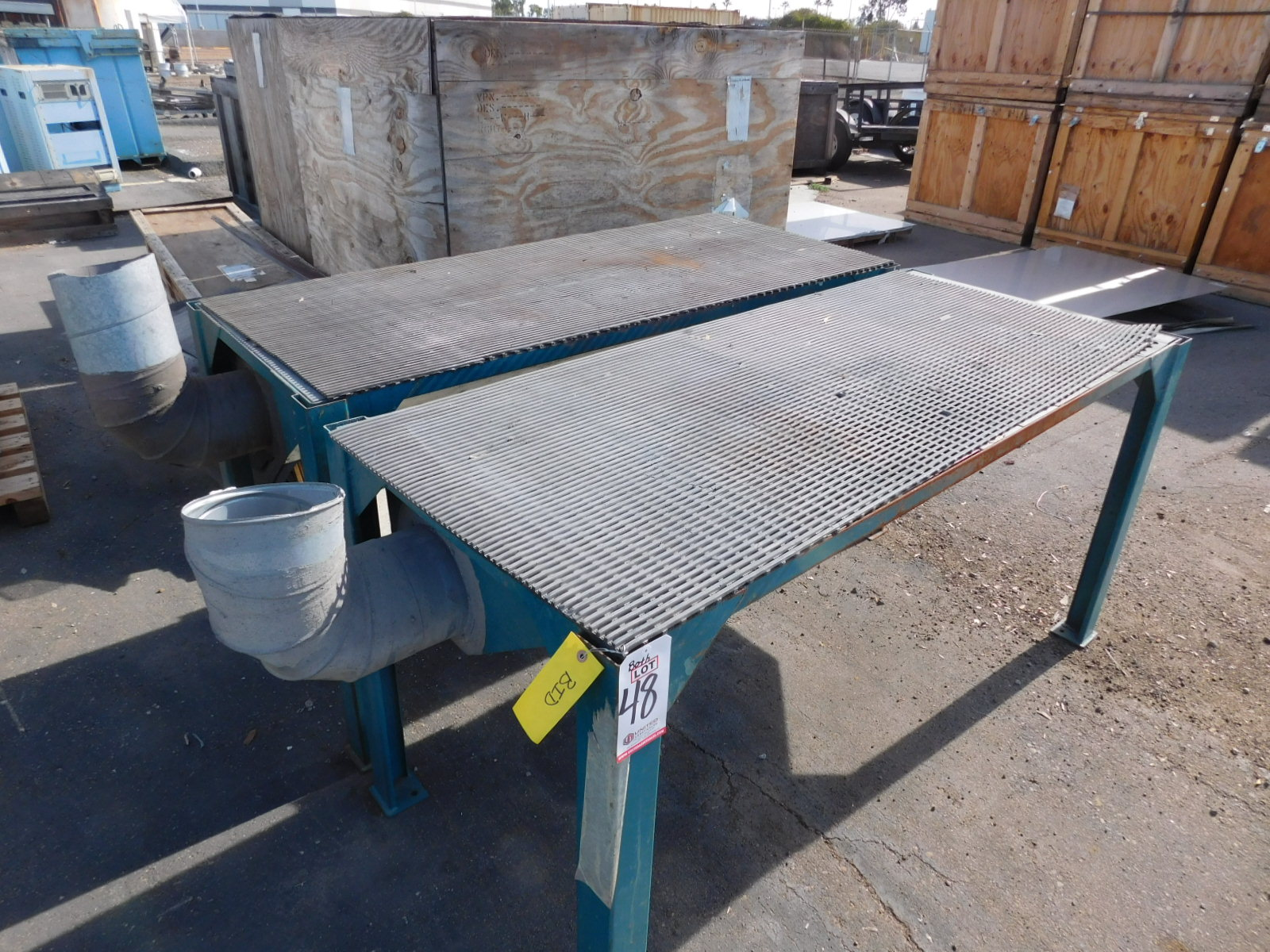 """Lot 48 - LOT - (2) VACUUM SANDING TABLES, EACH TABLE MEASURES 6' X 30"""", 36"""" WORKING HEIGHT"""