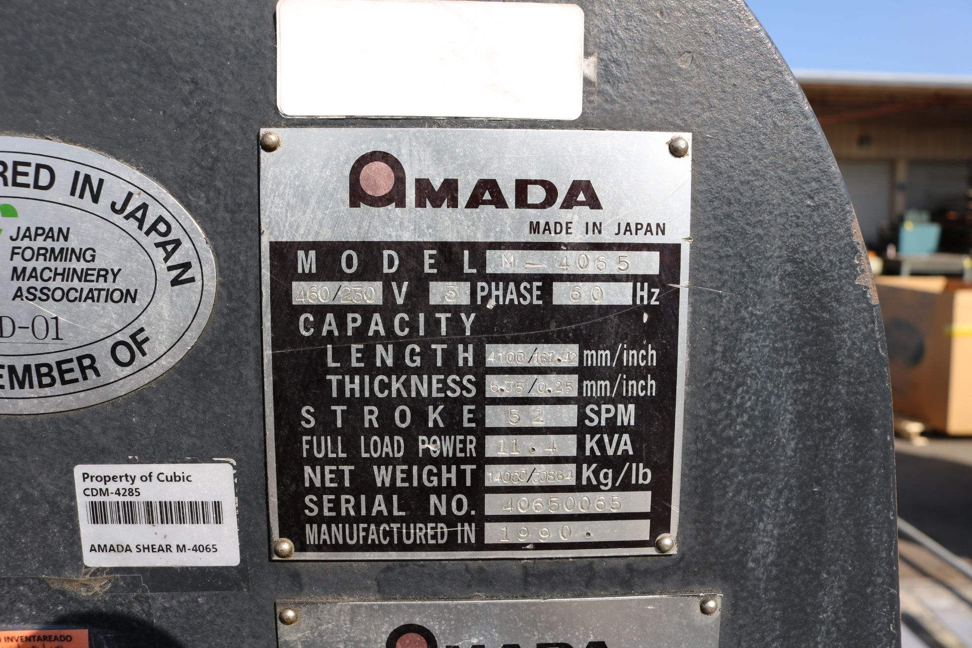 "Lot 10 - 1990 AMADA M-4065 SHEAR, 161.42"" X .25"" CAPACITY, MECHANICAL, AMADA CONTROL, 52 SPM, RIGHT HAND"