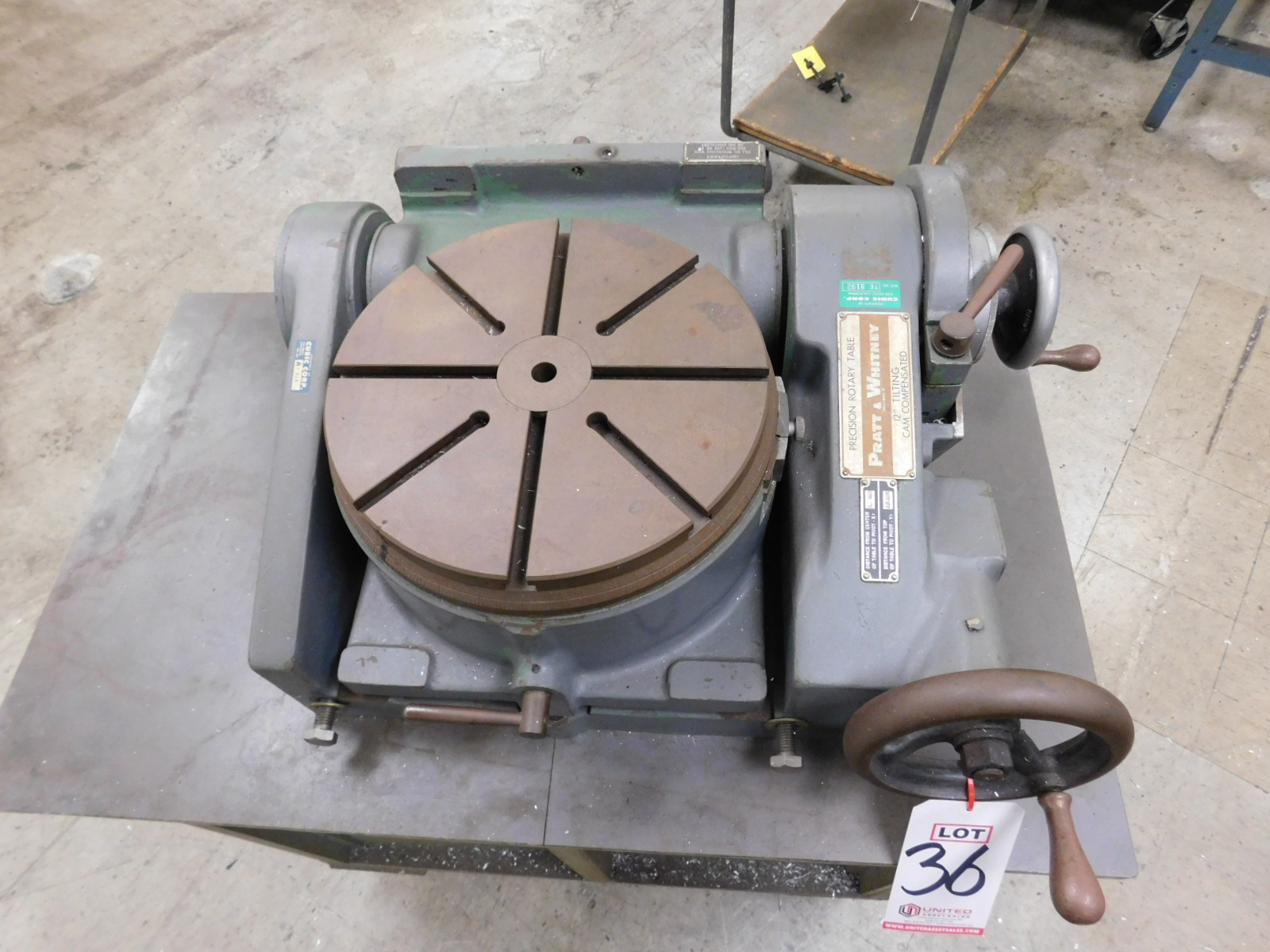 "Lot 36 - PRATT & WHITNEY 12"" TILTING ROTARY TABLE, S/N 29100"