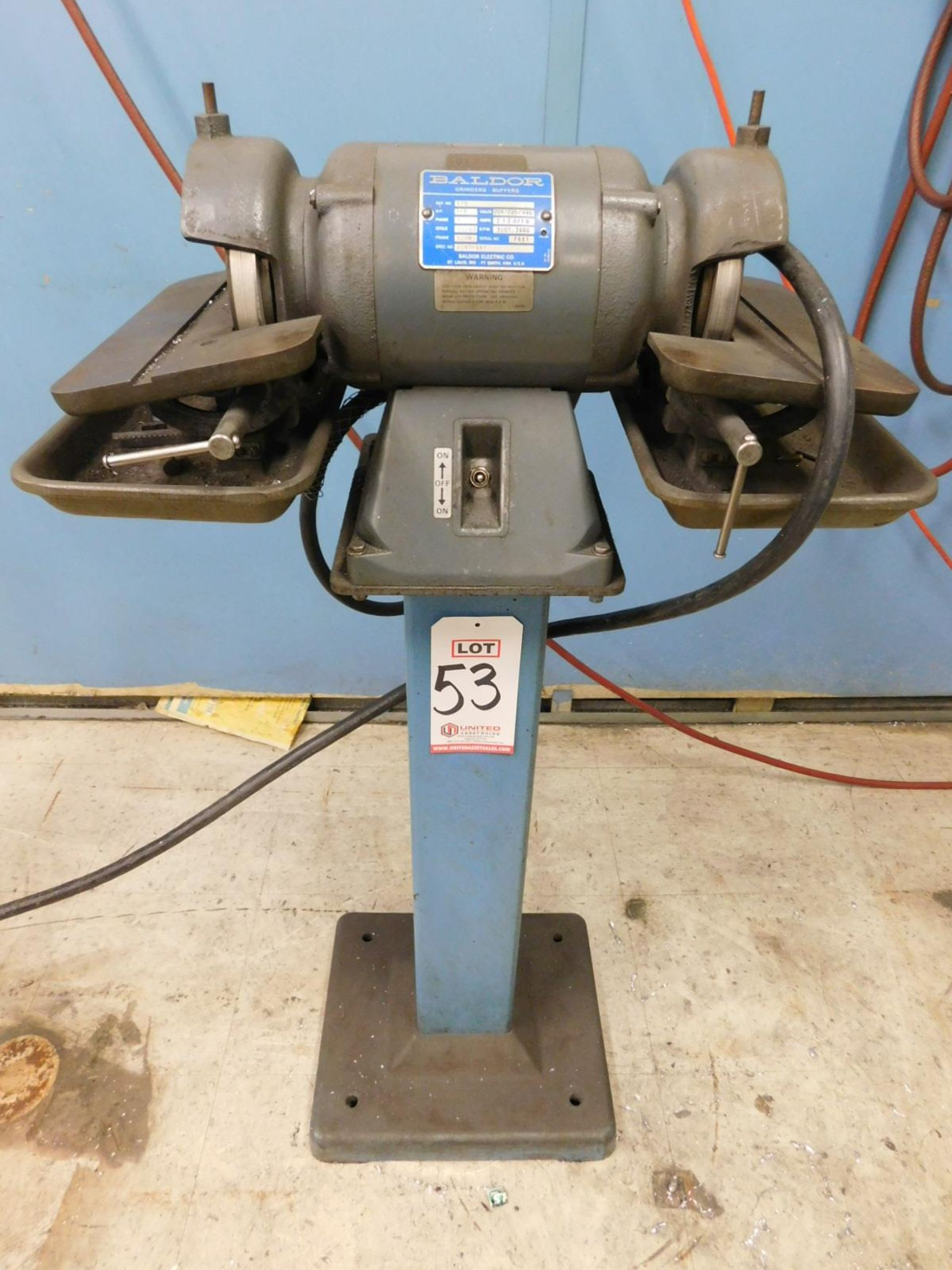 "Lot 53 - BALDOR 510 6"" TOOL GRINDER, 1/2 HP, 3-PHASE, 208/220/440V, S/N F681, W/ STAND"