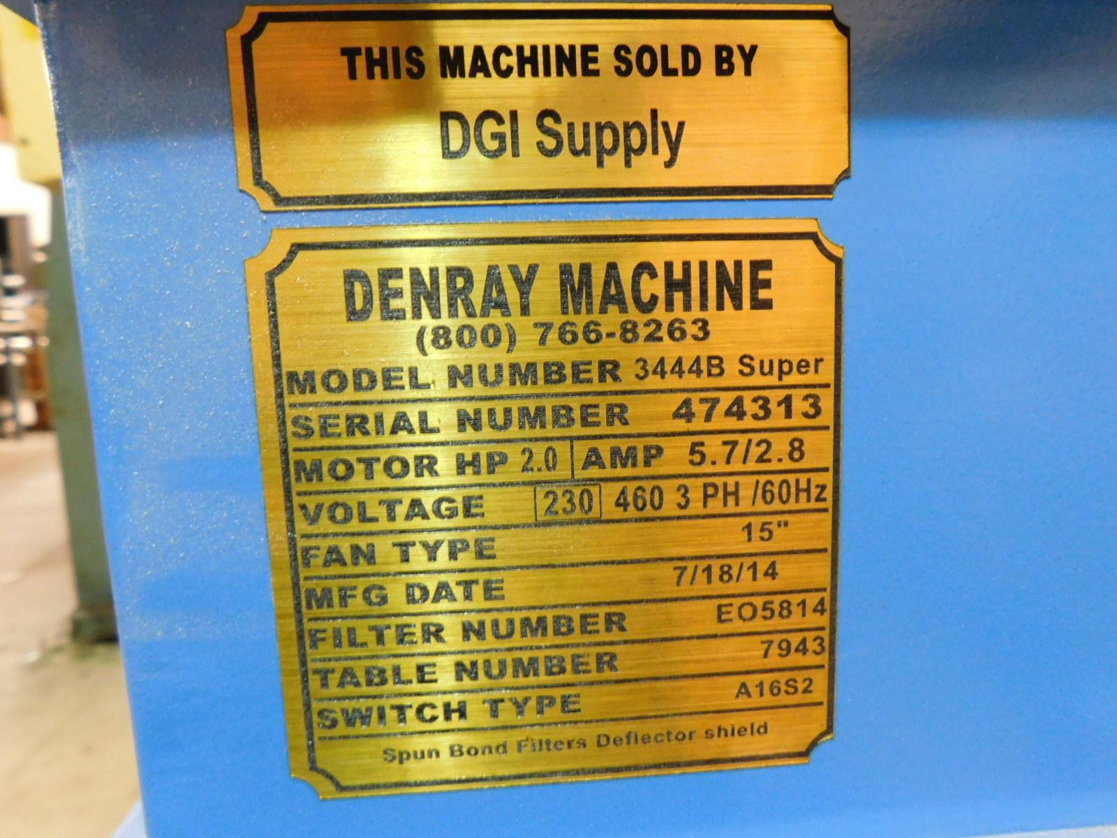 "Lot 43 - 2014 DENRAY DOWNDRAFT TABLE, MODEL 3444B SUPER, 2 HP, S/N 474313, WORKTOP MEASURES 41"" X 32"""