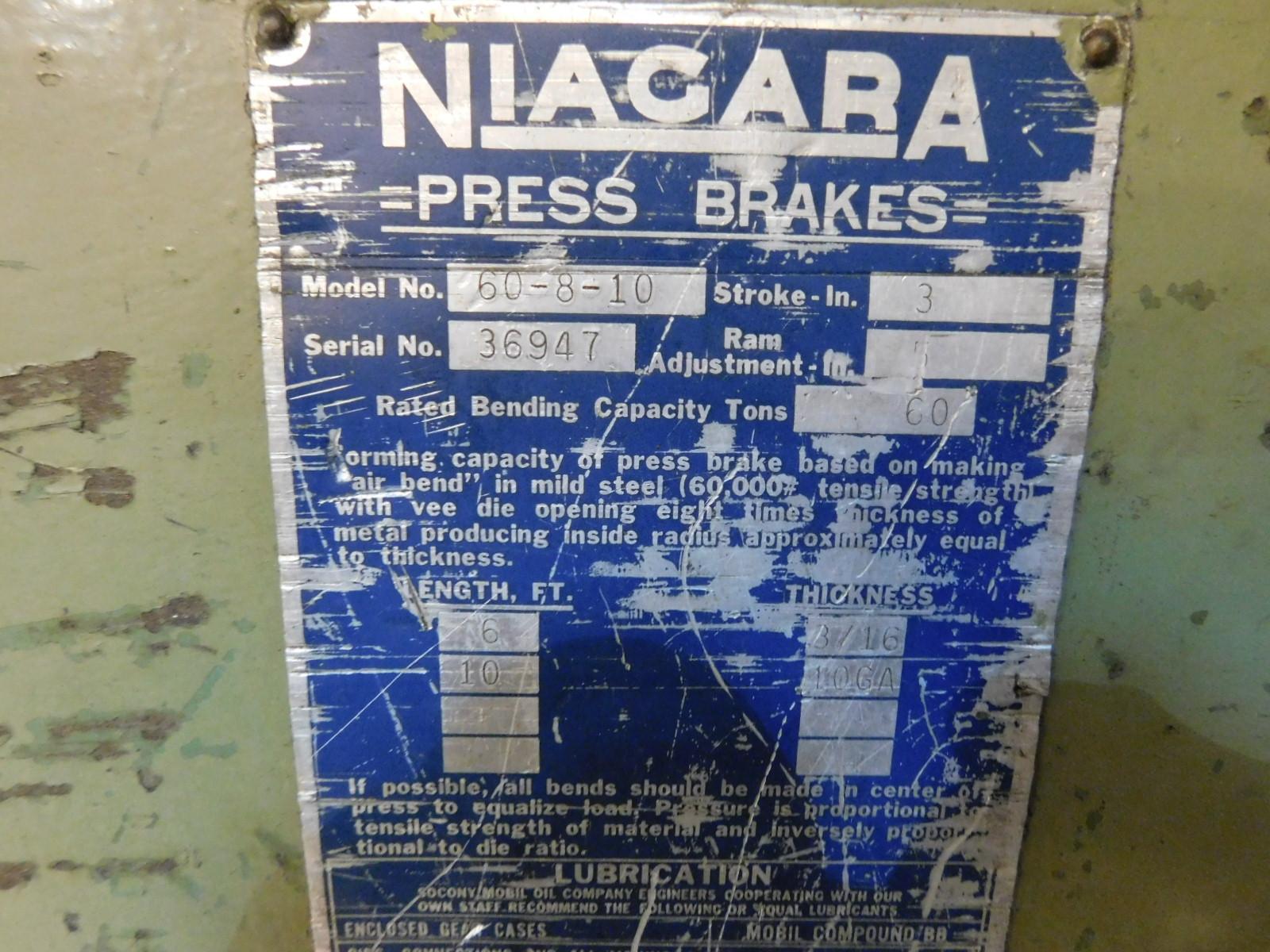 Lot 8 - NIAGARA 60-8-10 PRESS BRAKE, 60-TON X 10' CAPACITY, S/N 36947