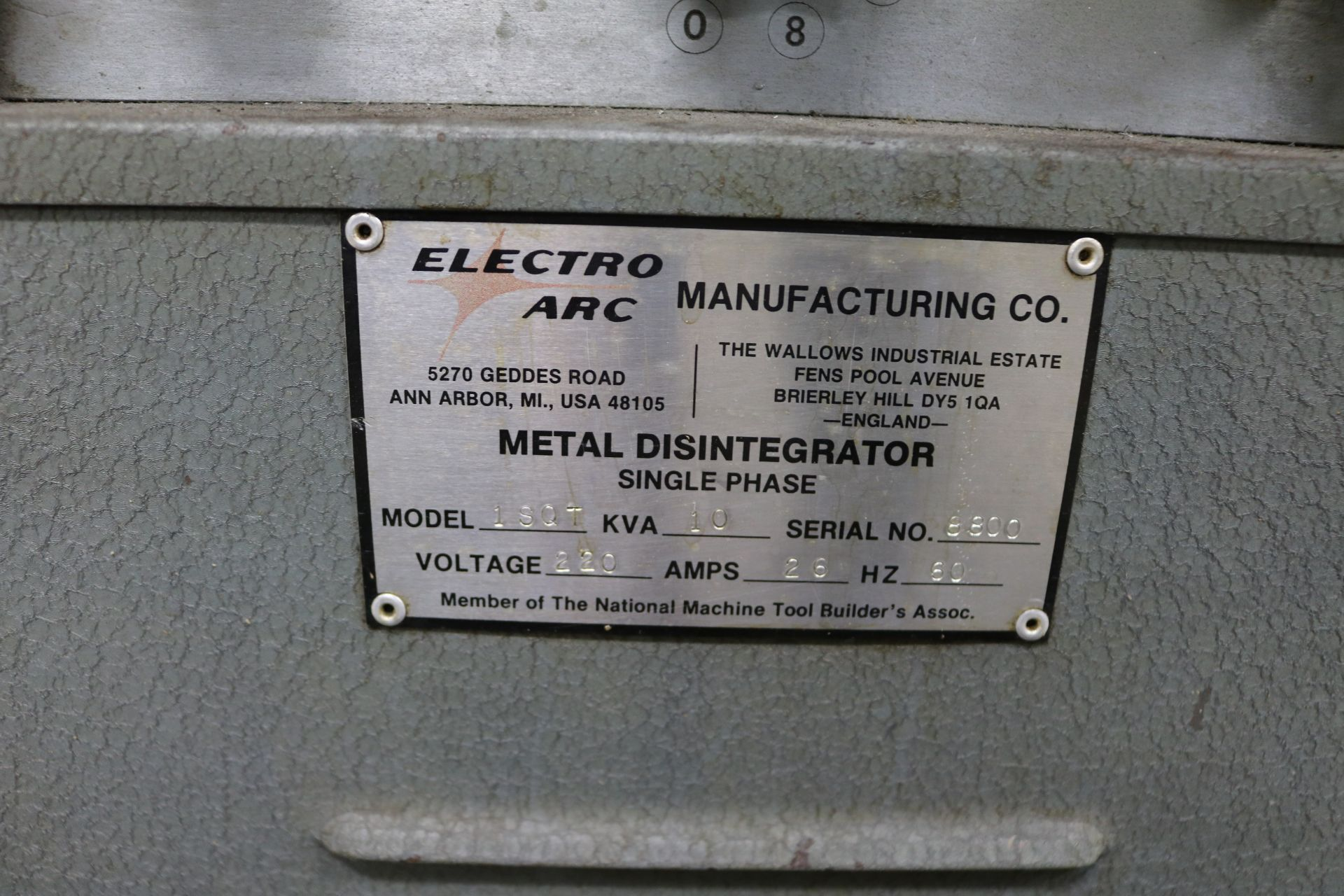Lot 20 - ELECTRO ARC TAP METAL DISINTEGRATOR, MODEL 1SQT, 10 KVA, S/N 8800