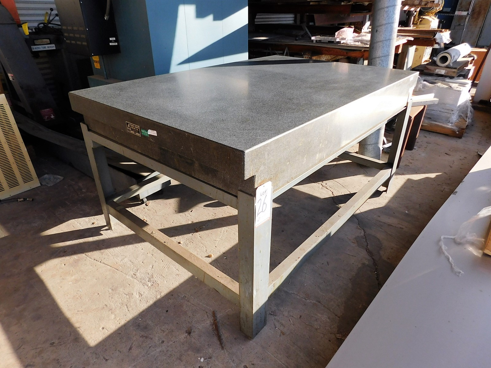 "Lot 26 - PYRAMID SURFACE PLATE, 4' X 6' X 8-1/4"", GRADE A, S/N 5990, STEEL STAND"