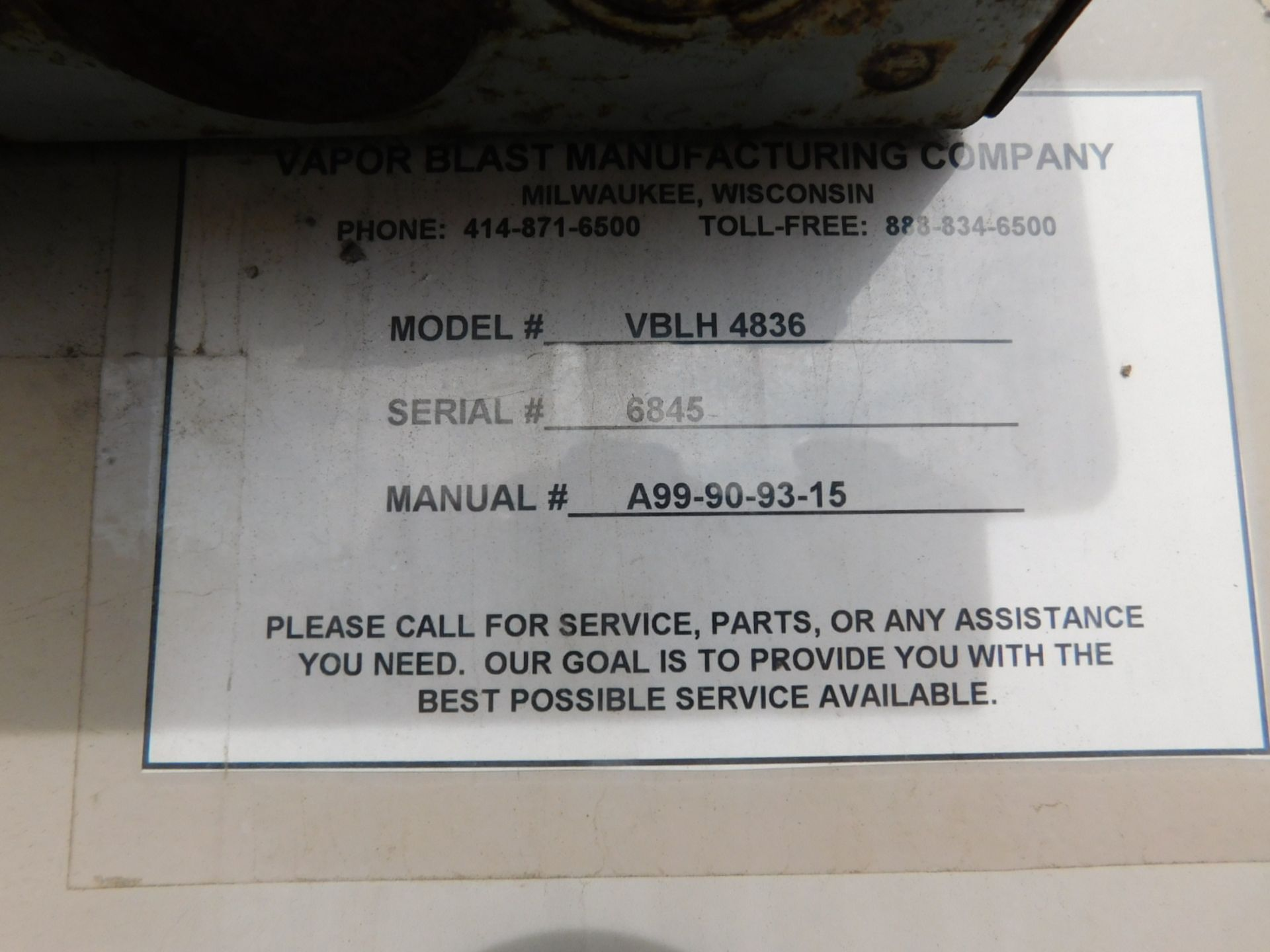 Lot 45 - VAPOR BLAST SANDBLAST CABINET, MODEL VBLH4836, 4' X 3' WORK AREA, S/N 6845