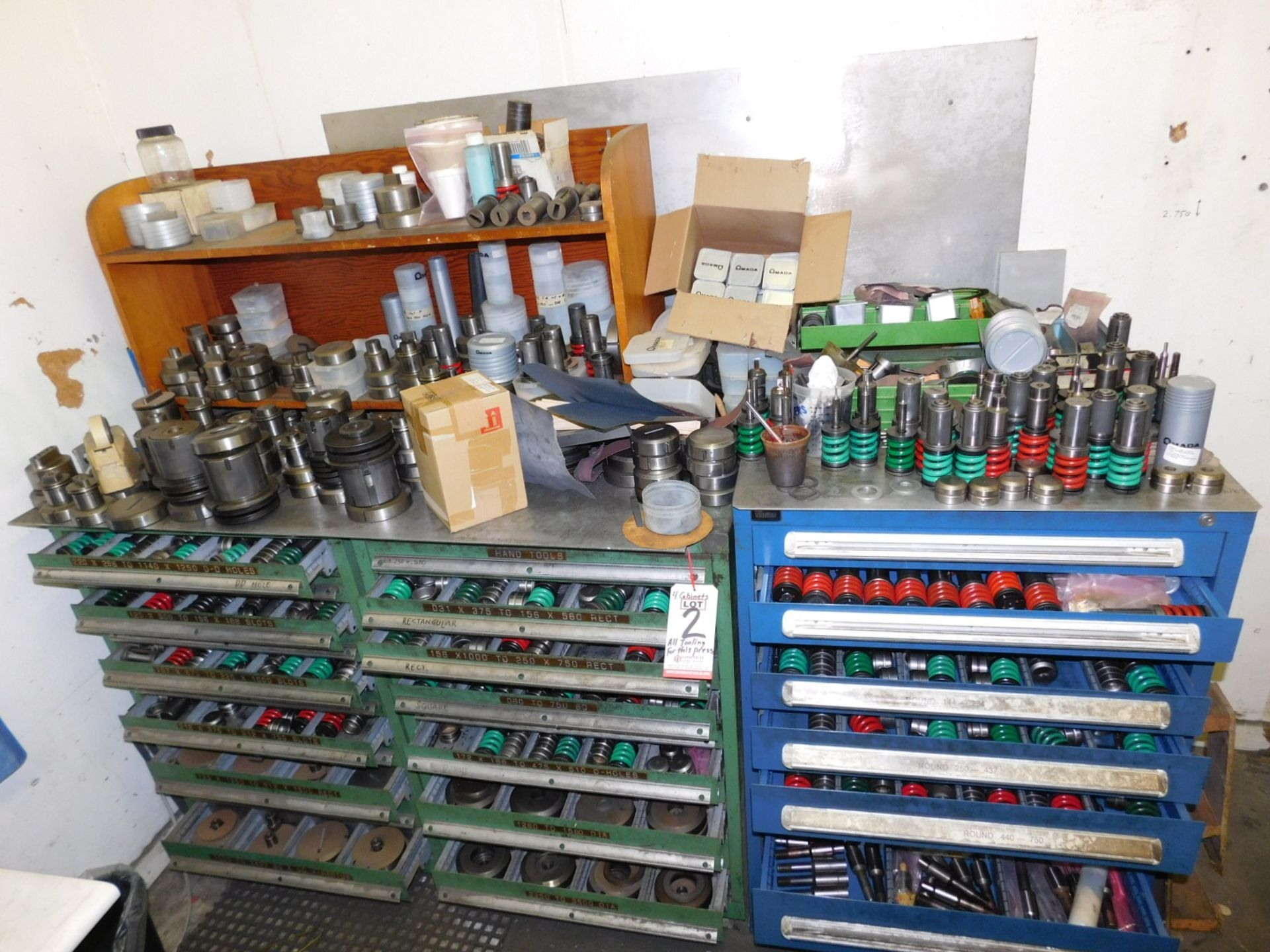 Lot 2 - LOT - (4) CABINETS W/ CONTENTS INSIDE AND ON TOP OF TOOLING FOR THE AMADA PEGA-344Q. PLUS MORE AMADA