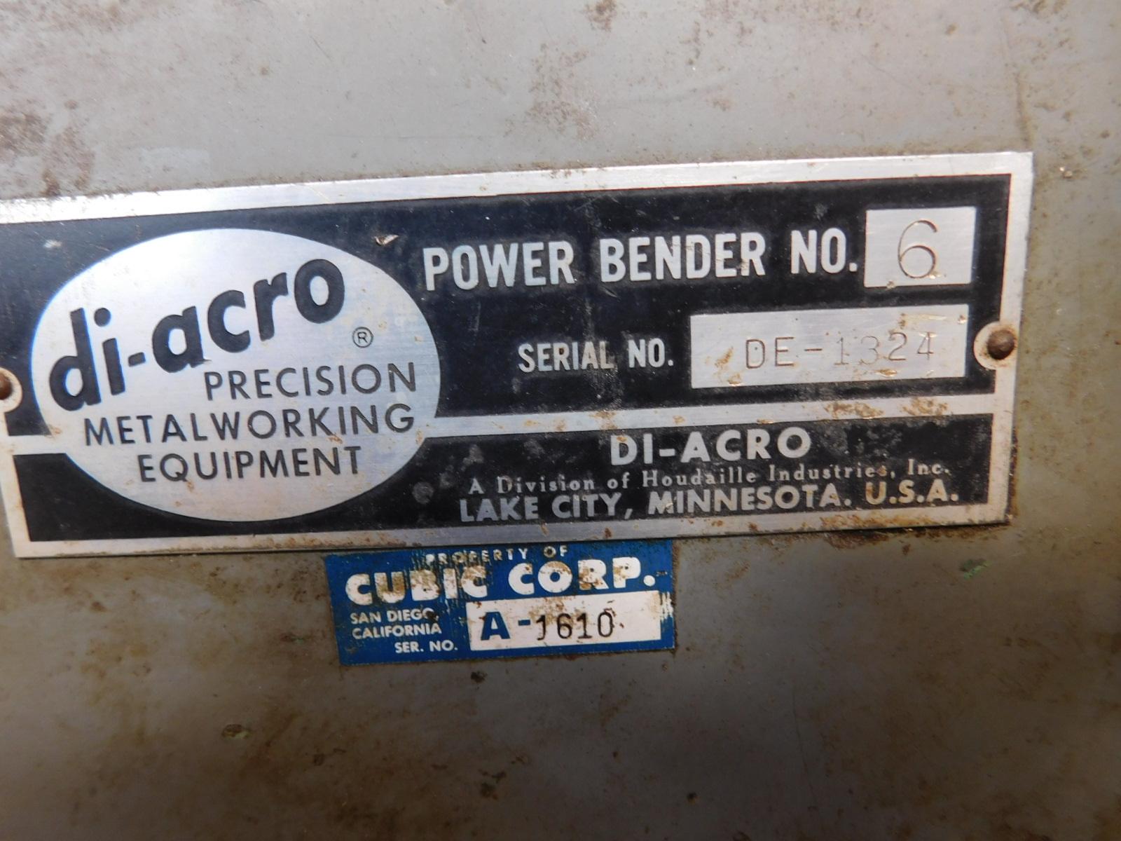 Lot 39 - DI-ACRO TUBE BENDER, POWER BENDER NO. 6, S/N DE-1324