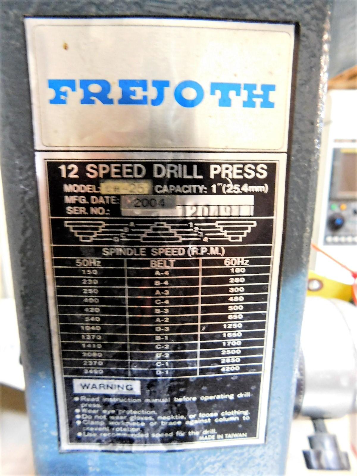"Lot 33 - FREJOTH 22"" DRILL PRESS, MODEL CH-25, S/N 1204911, FLOOR STAND, 12-SPEED, NO CHUCK"