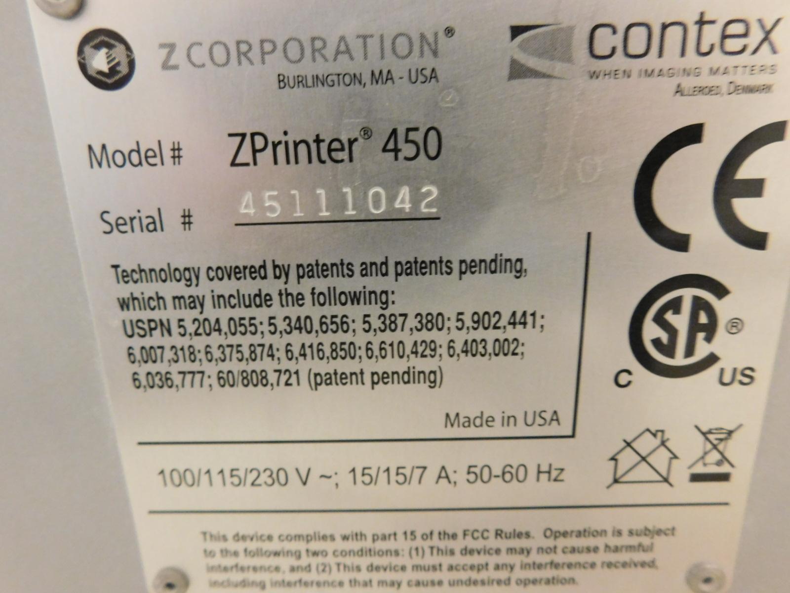 Lot 21 - Z CORPORATION COLOR 3D PRINTER, MODEL Z450, S/N 45111042