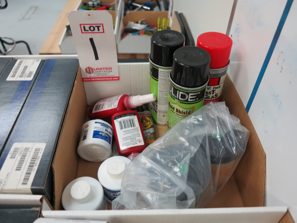 Lot 1 - LOT - SHOP ADHESIVES, RUST TREATMENT, LAYOUT FLUID, ETC.