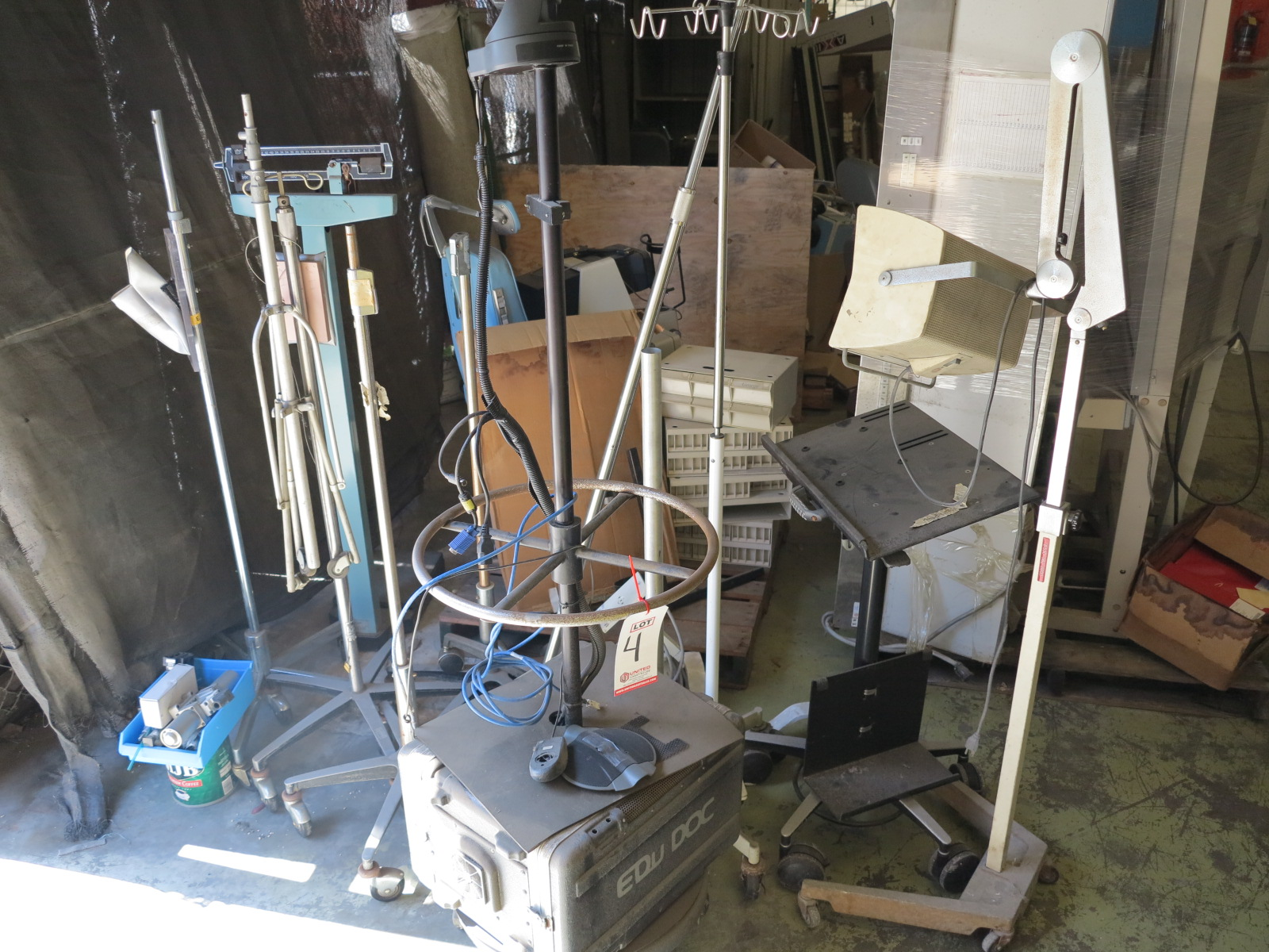 Lot 4 - LOT - (10) MEDICAL STANDS, (1) BEAM SCALE
