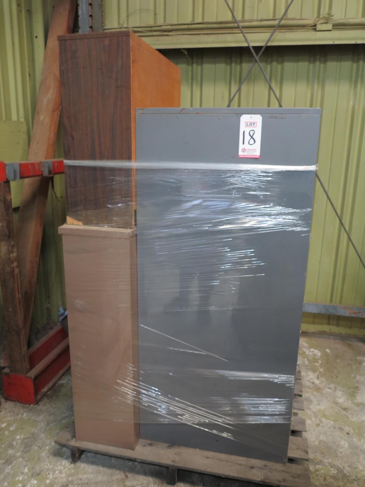 Lot 18 - LOT - PALLET W/ (2) FILE CABINETS, (2) SHELVES