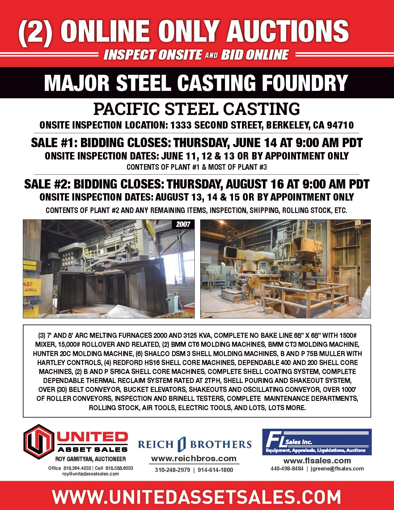 STEEL AND CASTING FOUNDRY - CONTENTS OF PLANT #2 AND ANY REMAINING ITEMS, INSPECTION, SHIPPING, ROLLING STOCK, ETC.