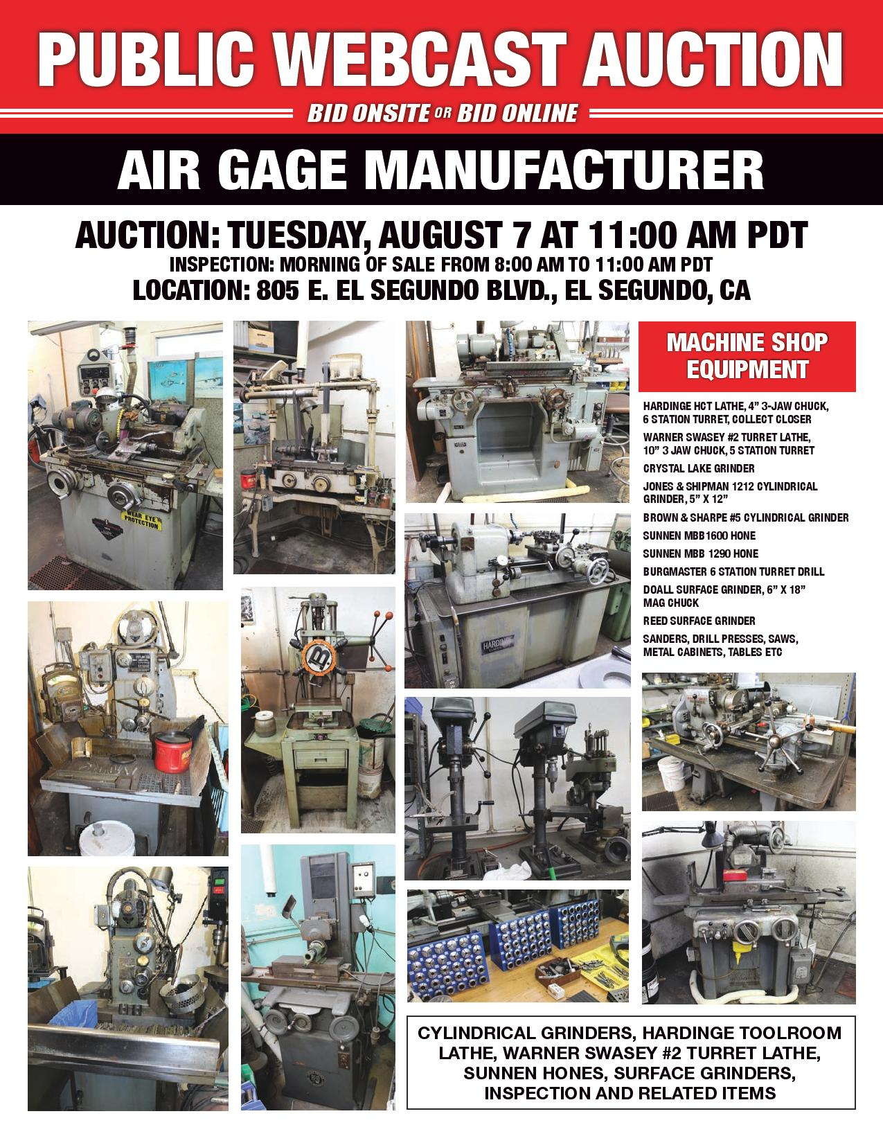 PRECISION AIR GAGE MANUFACTURER: HARDINGE TOOLROOM LATHES, SUNNEN HONES, PRECISION GRINDERS, INSPECTION AND RELATED ITEMS