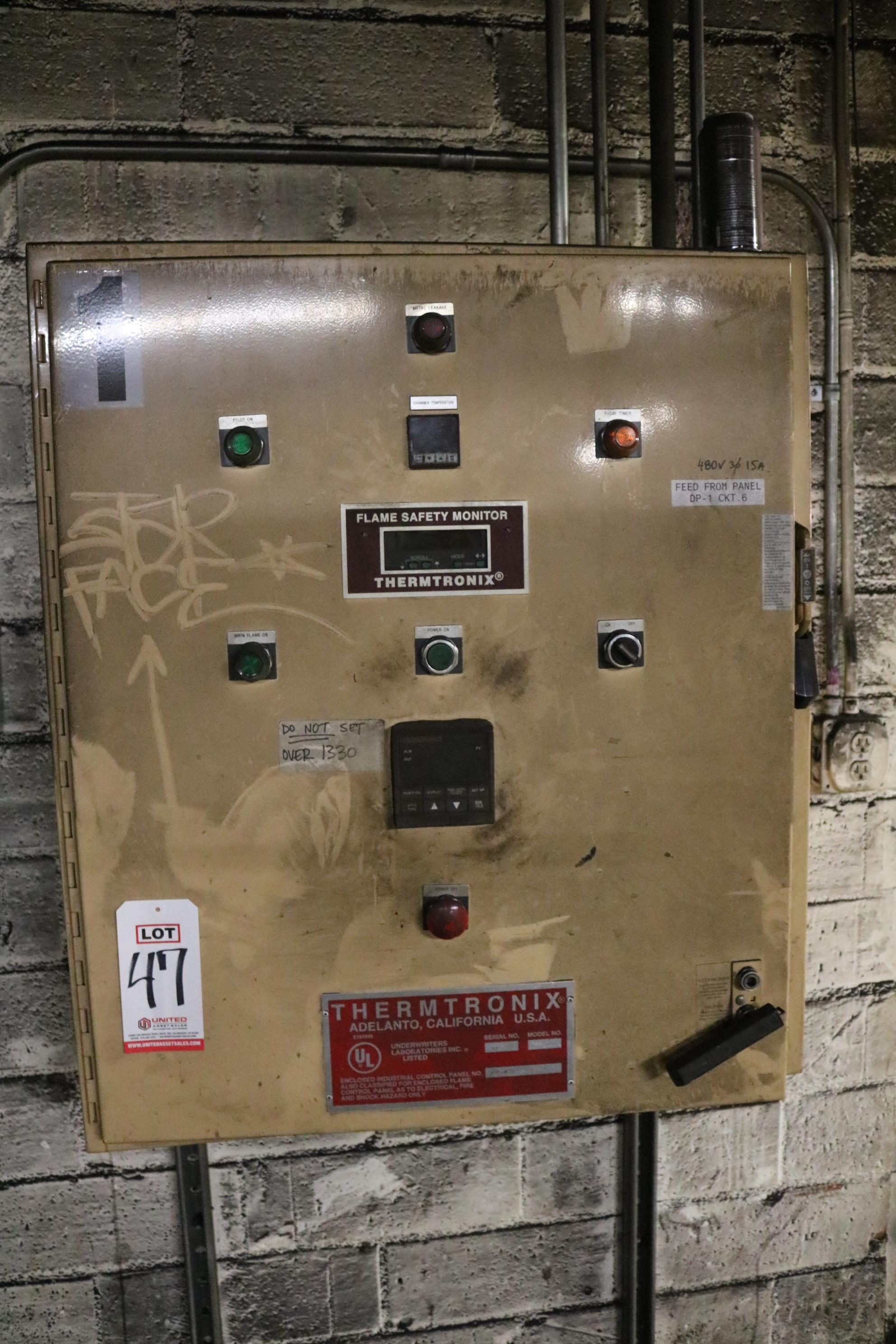 Lot 47 - 2001 THERMTRONIX MODEL GS900 900 LB GAS FIRED MELTING FURNACE, GAS SYSTEM AND CONTROLS, S/N 011659