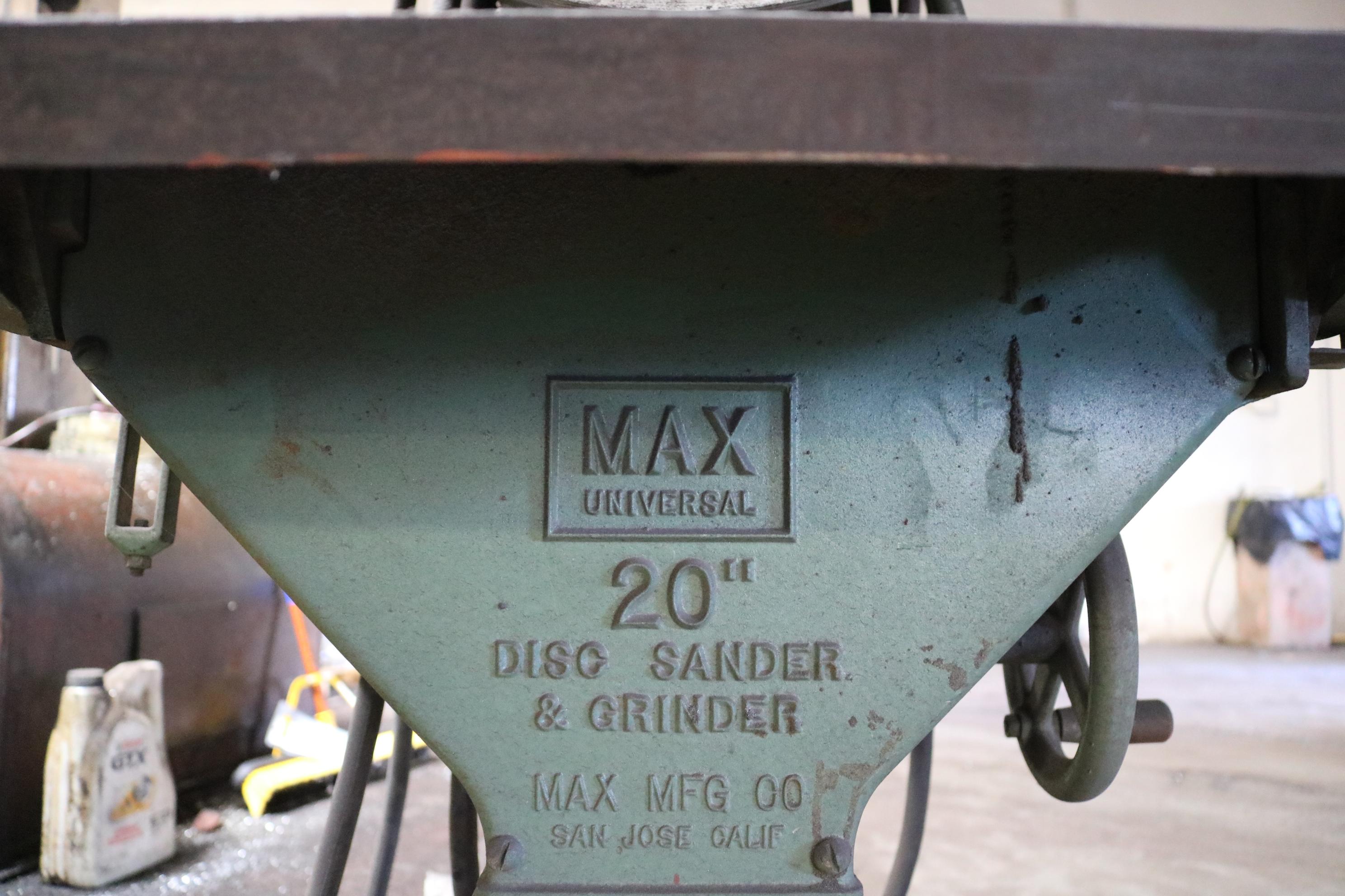 """Lot 7 - MAX 20"""" DISC SANDER & GRINDER"""