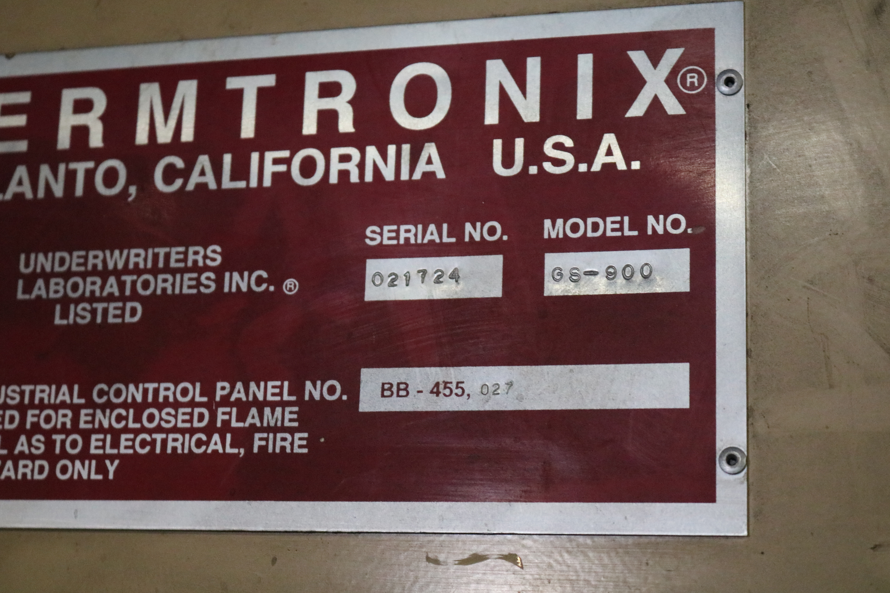 Lot 46 - 2002 THERMTRONIX MODEL GS900 900 LB GAS FRIED MELTING FURNACE, GAS SYSTEM AND CONTROLS, S/N 021724