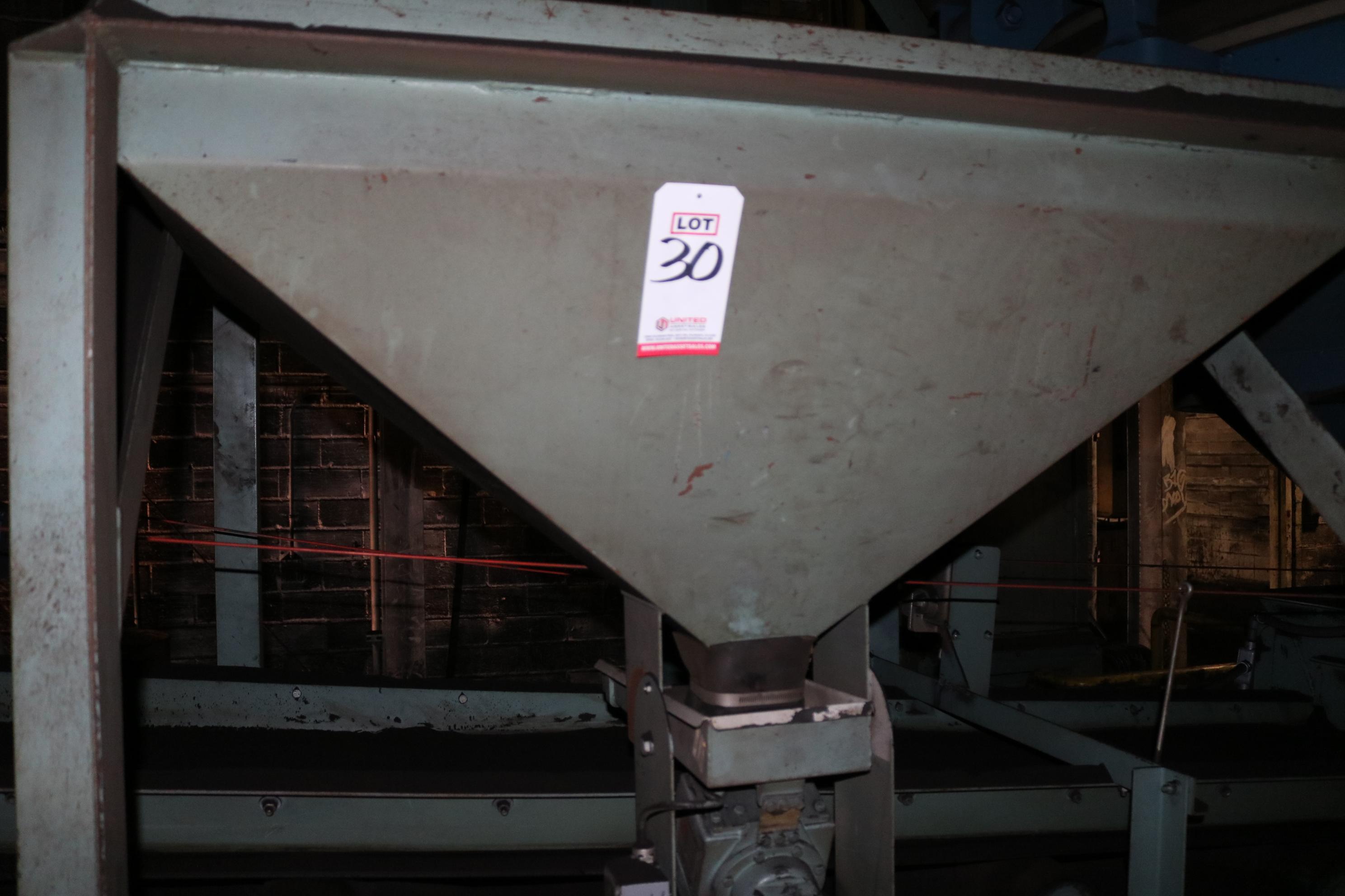 """Lot 30 - 24"""" X 14' 5 HP DISCHARGE BELT CONVEYOR, 5 HP BENTONITE FEEDER AND HOPPER"""