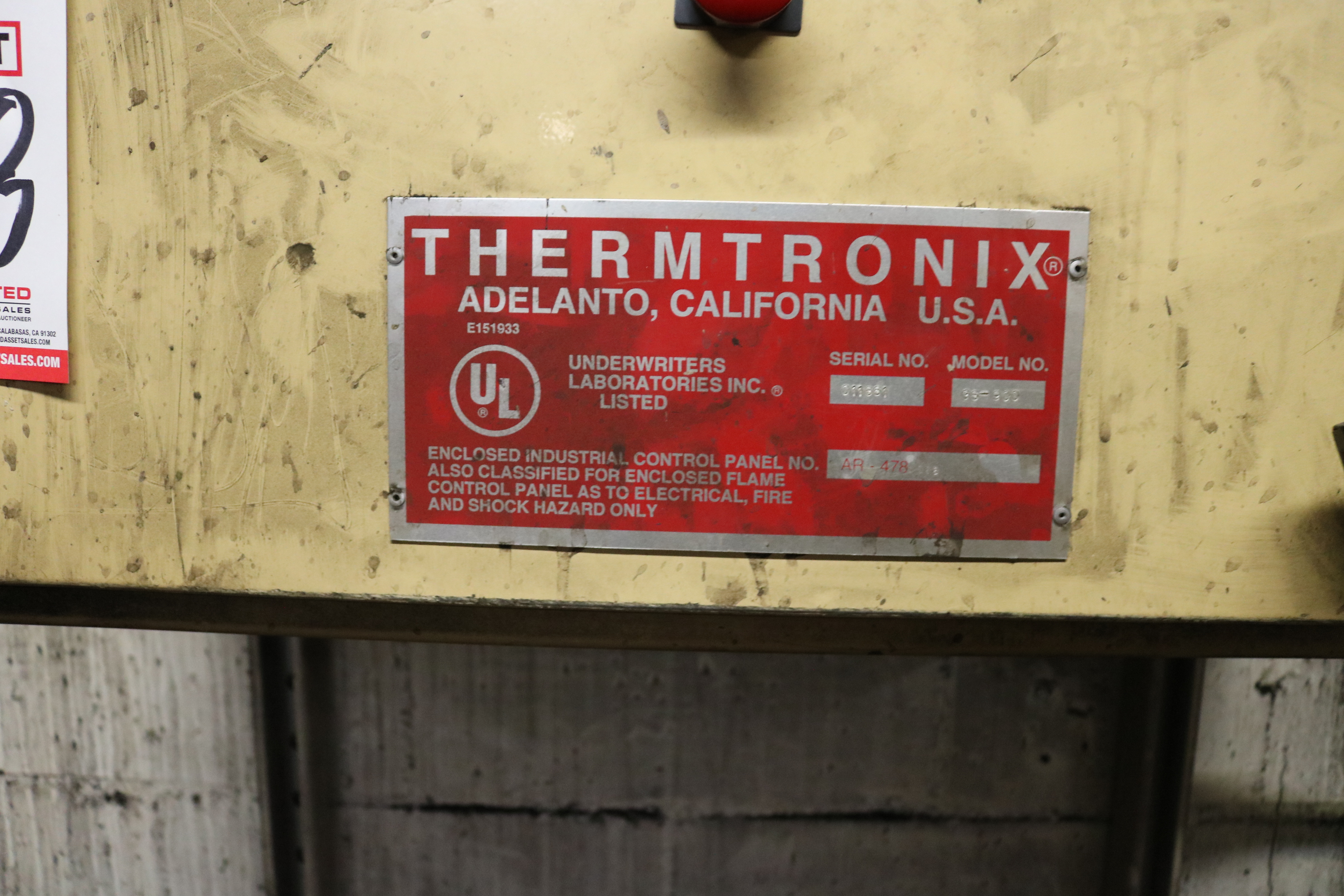 Lot 48 - 2006 THERMTRONIX MODEL GS2000 2000 LB GAS FIRED MELTING FURNACE, GAS SYSTEM AND CONTROLS, S/N