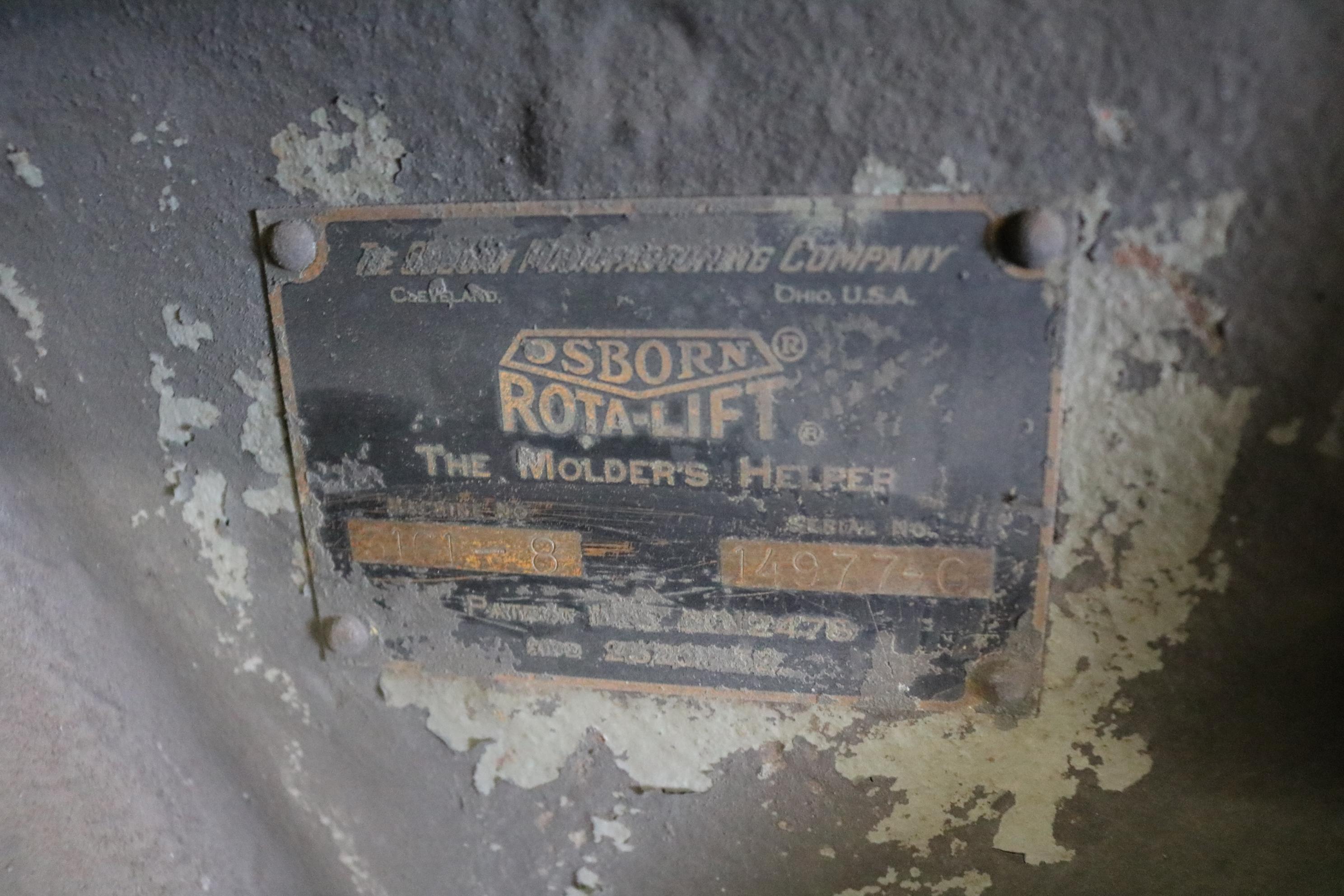 Lot 39 - OSBORN MODEL 3161 RJW ROTOLIFT MOLDING MACHINE, MOLD HANDLER, S/N 14977-C