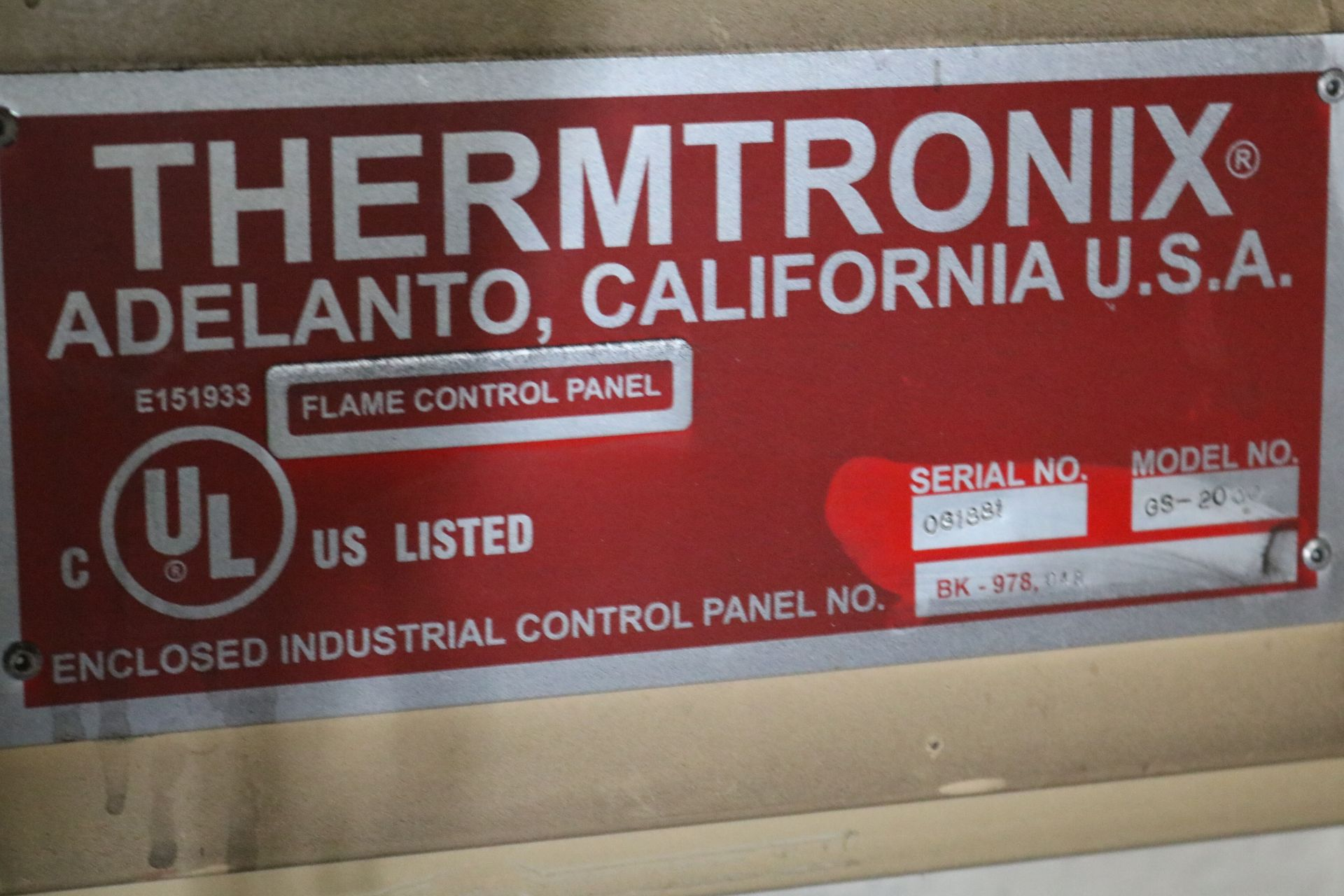 Lot 45 - 2001 THERMTRONIX MODEL GS900 900 LB GAS FIRED MELTING FURNACE, GAS SYSTEM AND CONTROLS, S/N 061881
