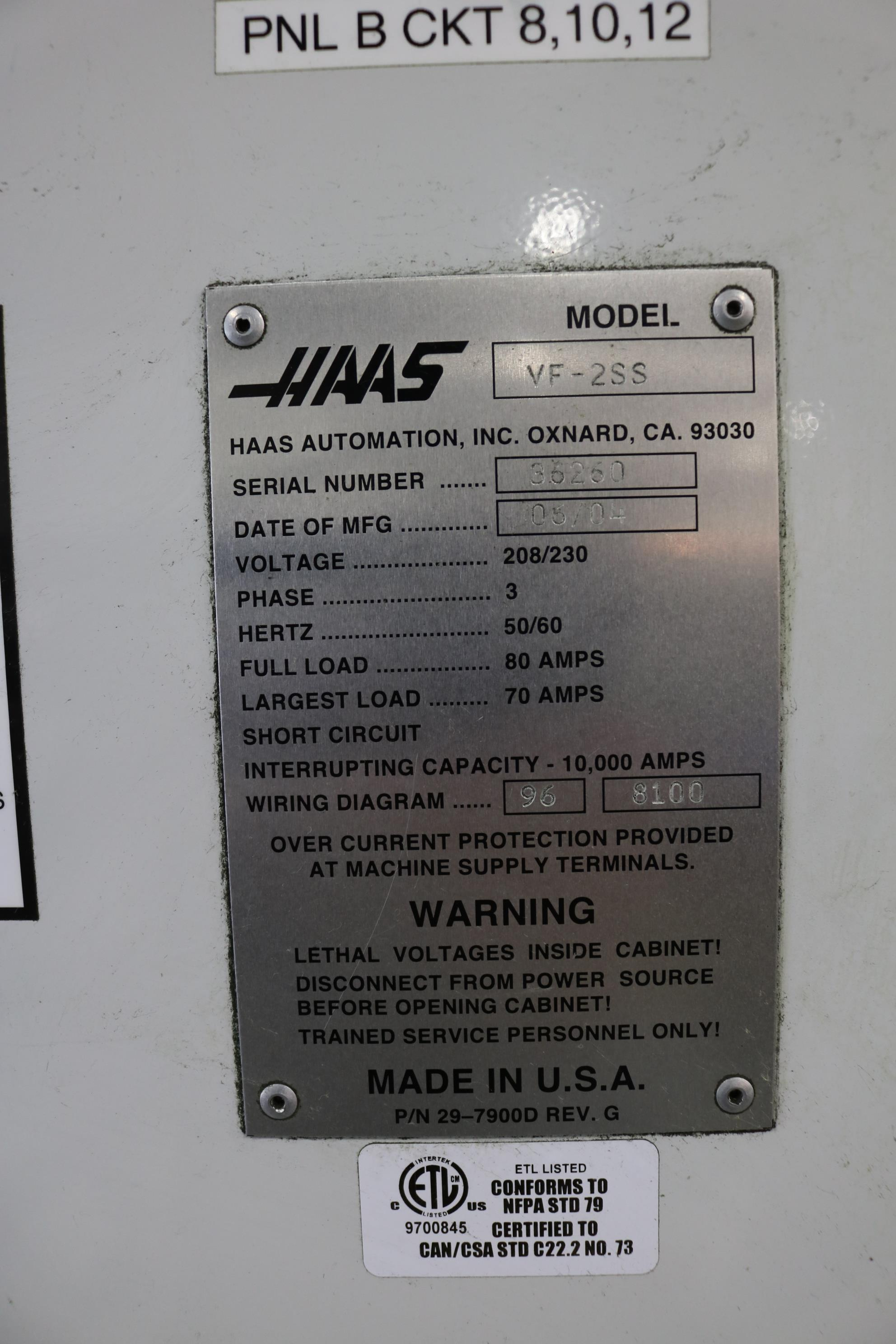 "Lot 15 - 2004 HAAS VF-2SS CNC VERTICAL MACHINING CENTER, TRAVELS: 30"" X 16"" X 20"", 36"" X 14"" TABLE, 12,000"