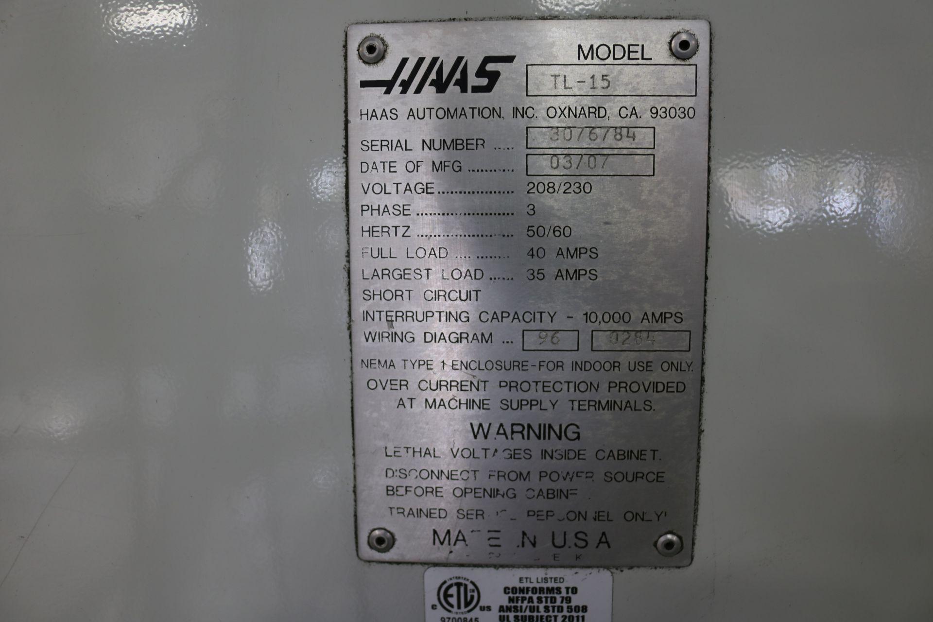 "Lot 18 - 2007 HAAS TL-15 CNC TURNING CENTER, 8"" 3 JAW CHUCK 23"" SWING, 9.5"" SWING OVER CROSS SLIDE, 2"" BAR"