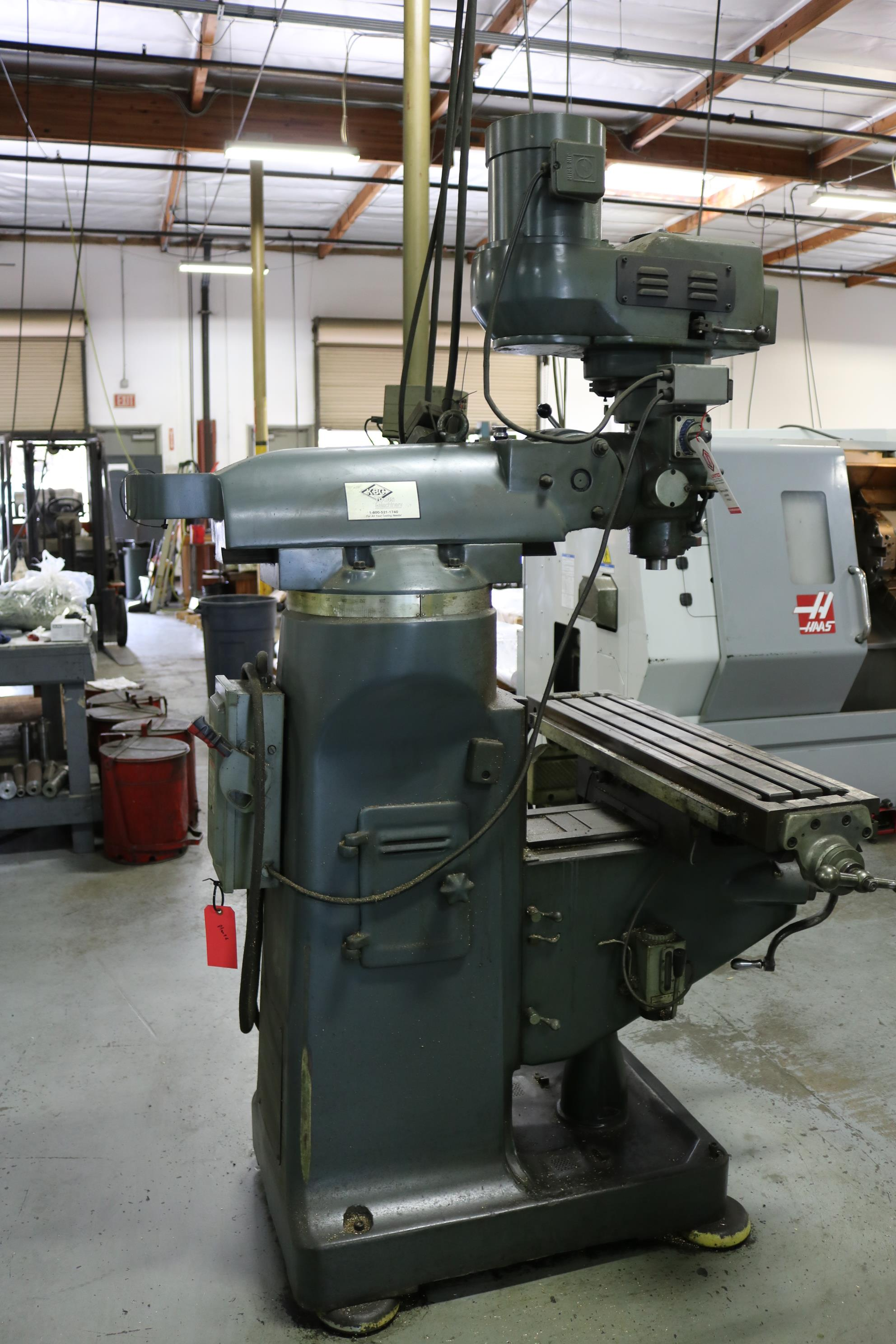 "Lot 2 - KBC VERTICAL MILL, 9"" X 42"" TABLE, POWER FEED, VARIABLE SPEED, 60-4200 RPM, MITUTOYO DRO"