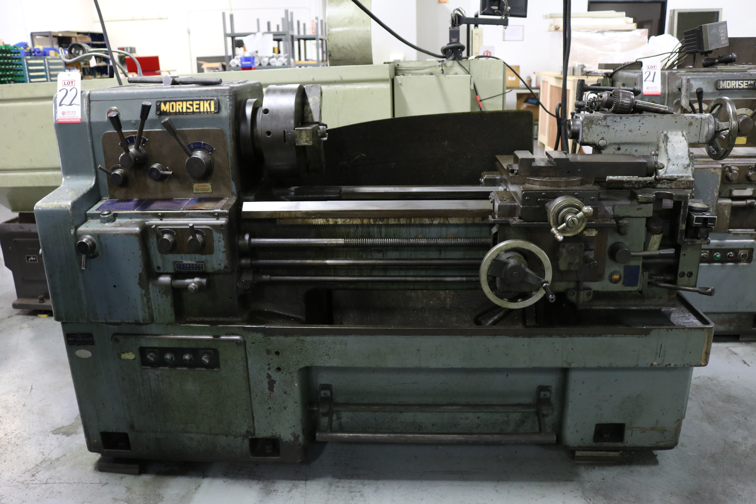 "Lot 22 - MORI SEIKI M-850 ENGINE LATHE, 17"" X 33"" CC, 12"" 3-JAW CHUCK, 2"" HOLE THRU, 5 HP, S/N 6524"