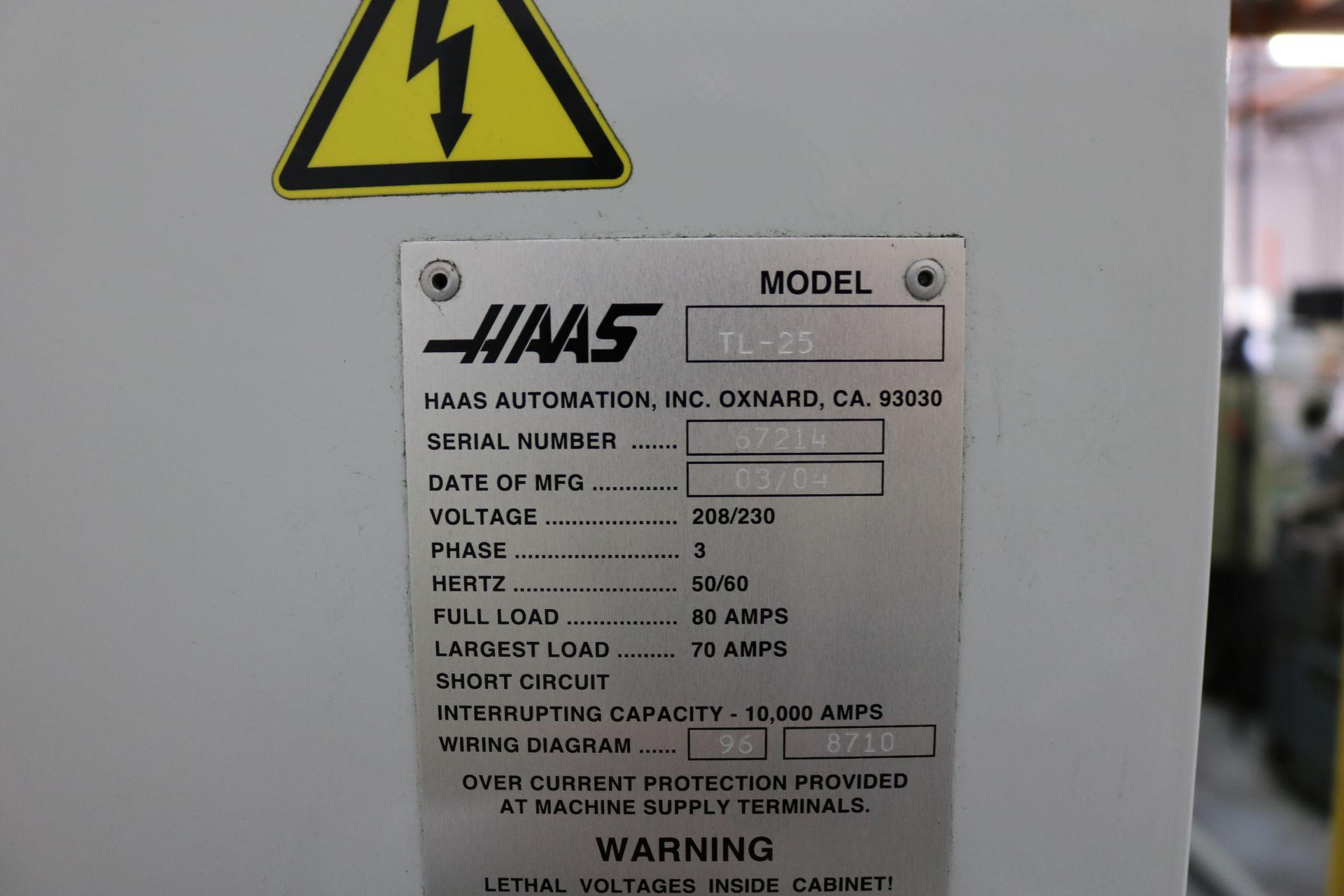 "Lot 17 - 2004 HAAS TL-25 CNC TURNING CENTER, 10"" 3 JAW CHUCK, 30"" SWING, 14.5"" SWING OVER CROSS SLIDE, 4"" BAR"