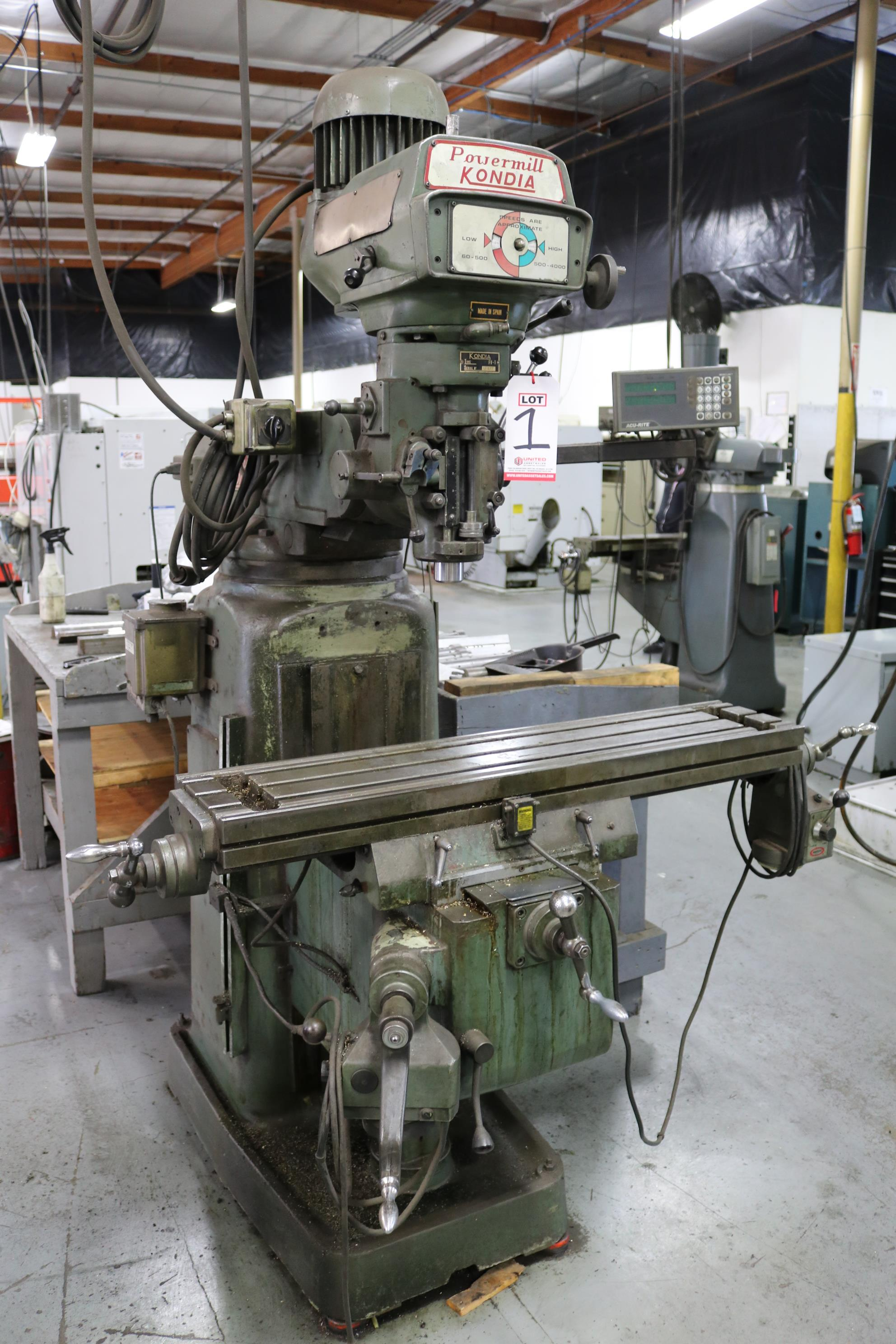"Lot 1 - POWERMILL KONDIA VERTICAL MILL, FV-1, 9"" X 42"" TABLE, VARIABLE SPEED, POWER FEED & KNEE, 50-4000"