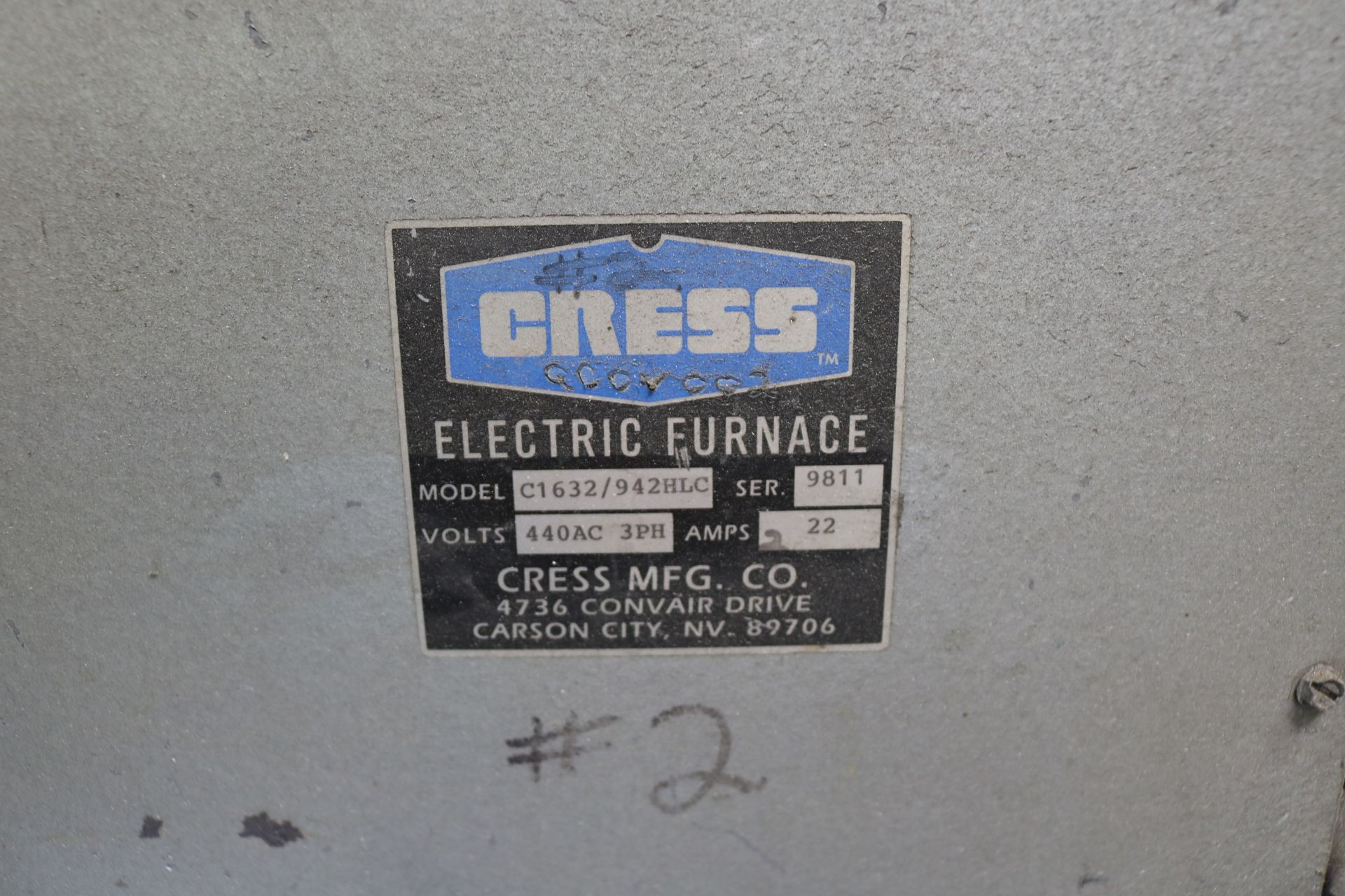 Lot 28 - CRESS ELECTRIC FURNACE, MODEL C1632/942 HLC, S/N 9811