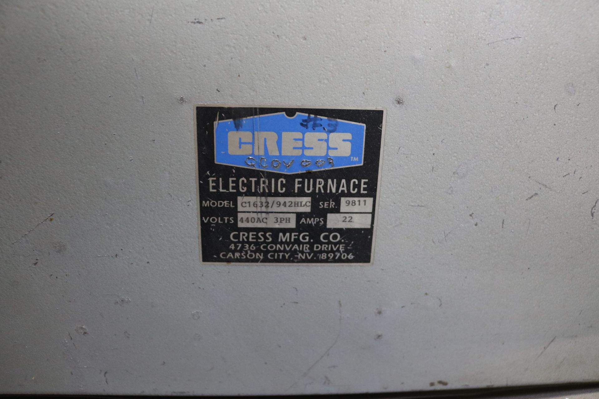 Lot 26 - CRESS ELECTRIC FURNACE, MODEL C1632/942 HLC, S/N 9811
