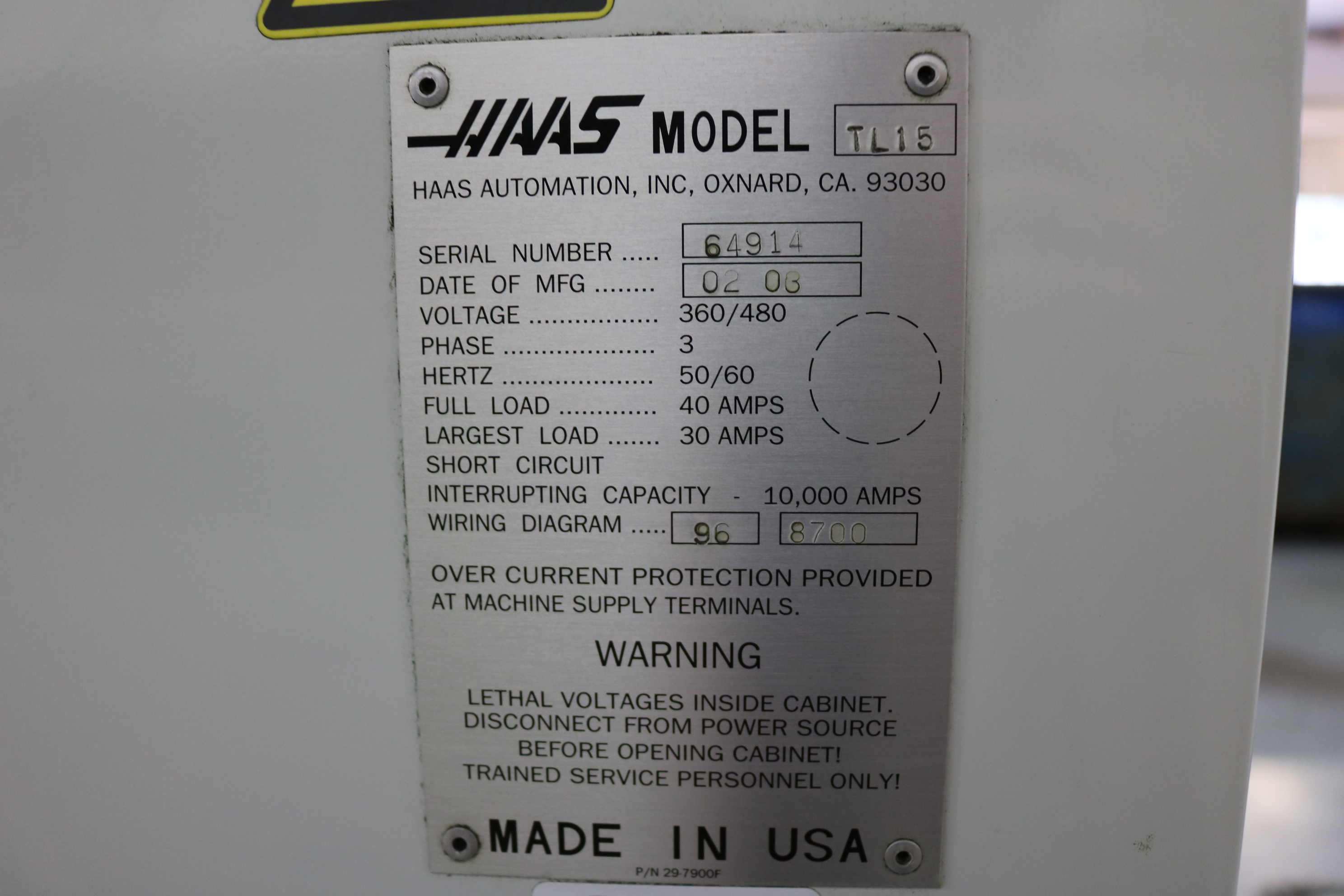 "Lot 19 - 2006 HAAS TL-15 CNC TURNING CENTER, 10"" 3 JAW CHUCK, 23"" SWING, 9.5"" SWING OVER CROSS SLIDE, 2"""