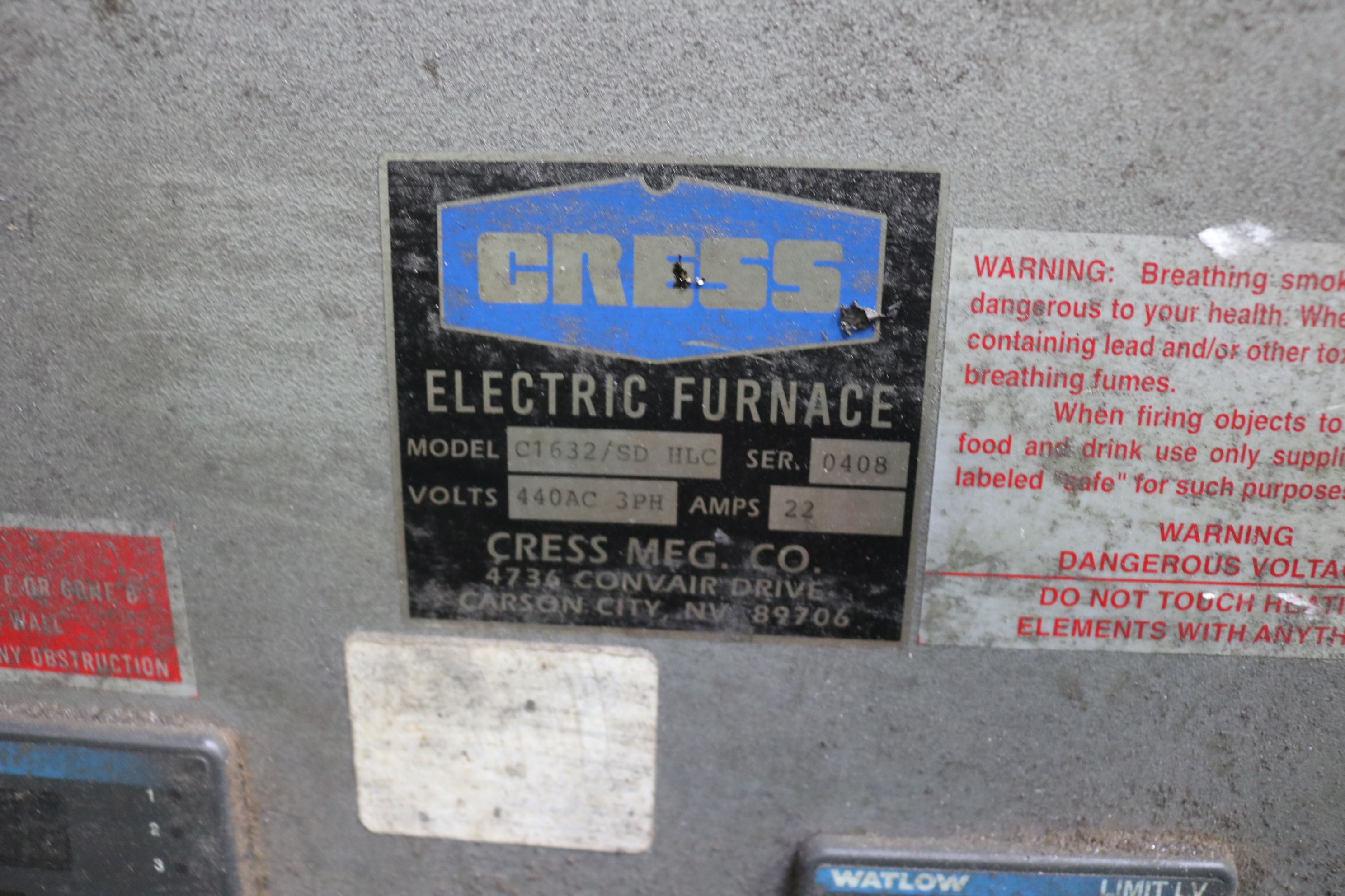 Lot 27 - CRESS ELECTRIC FURNACE, MODEL C1632/SD HLC, S/N 0408